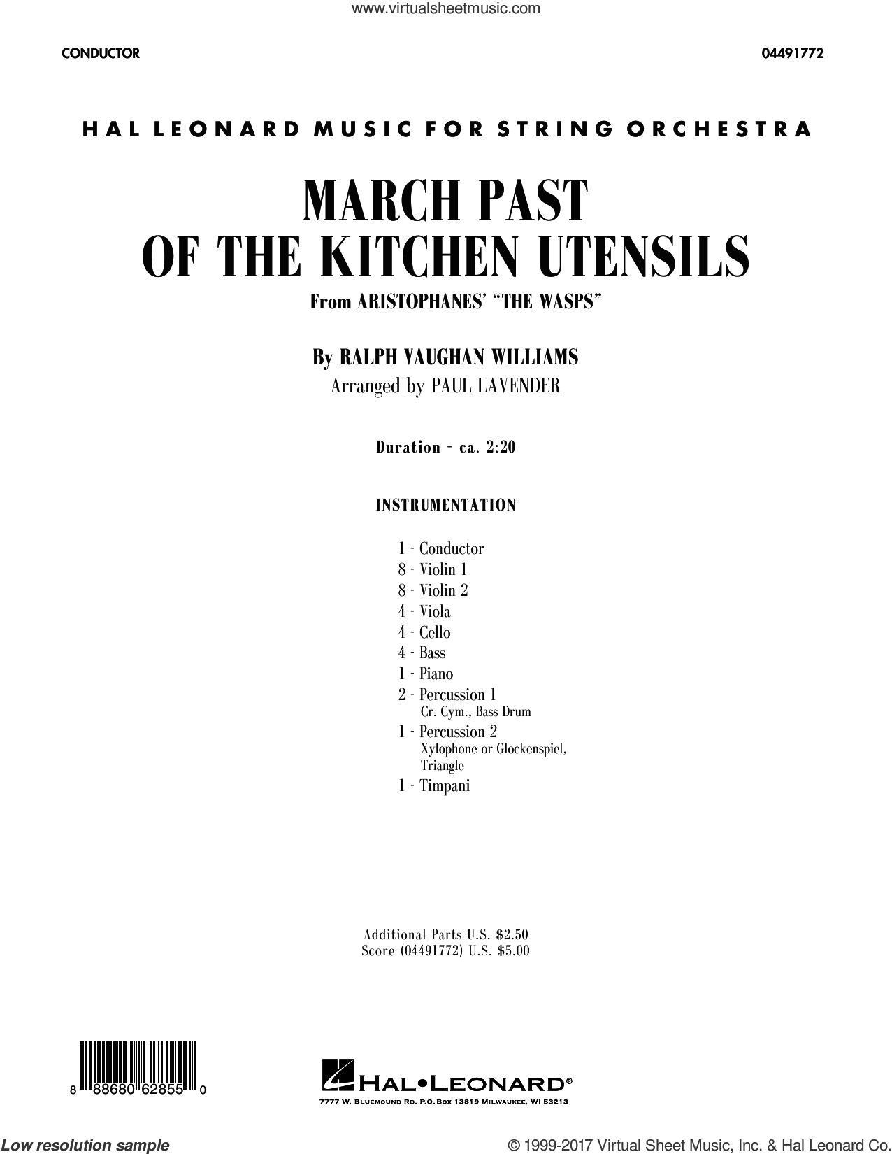 March Past of the Kitchen Utensils (from The Wasps) (COMPLETE) sheet music for orchestra by Paul Lavender and Ralph Vaughan Williams, classical score, intermediate skill level