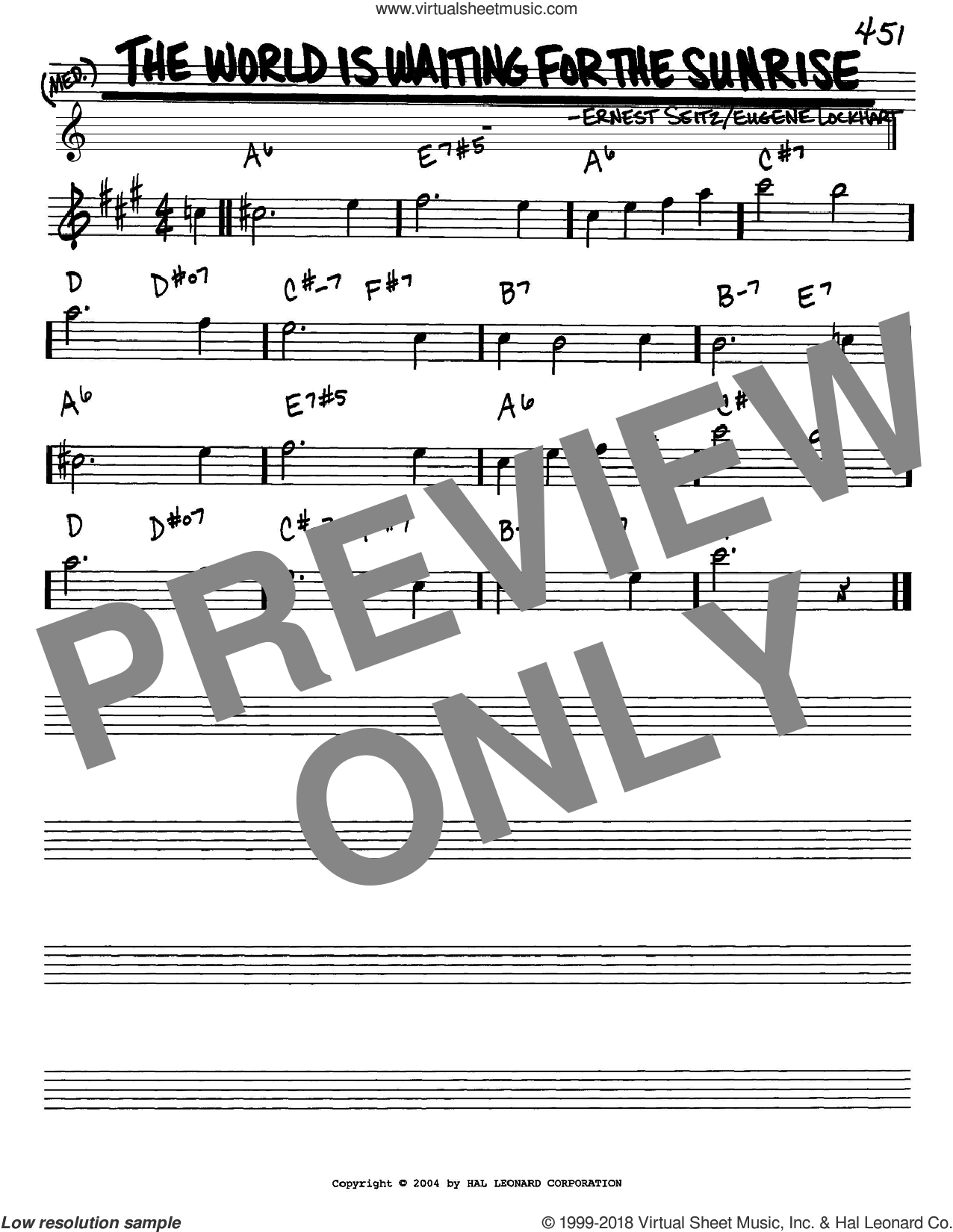 The World Is Waiting For The Sunrise sheet music for voice and other instruments (in Eb) by Eugene Lockhart and Ernest Seitz, intermediate. Score Image Preview.