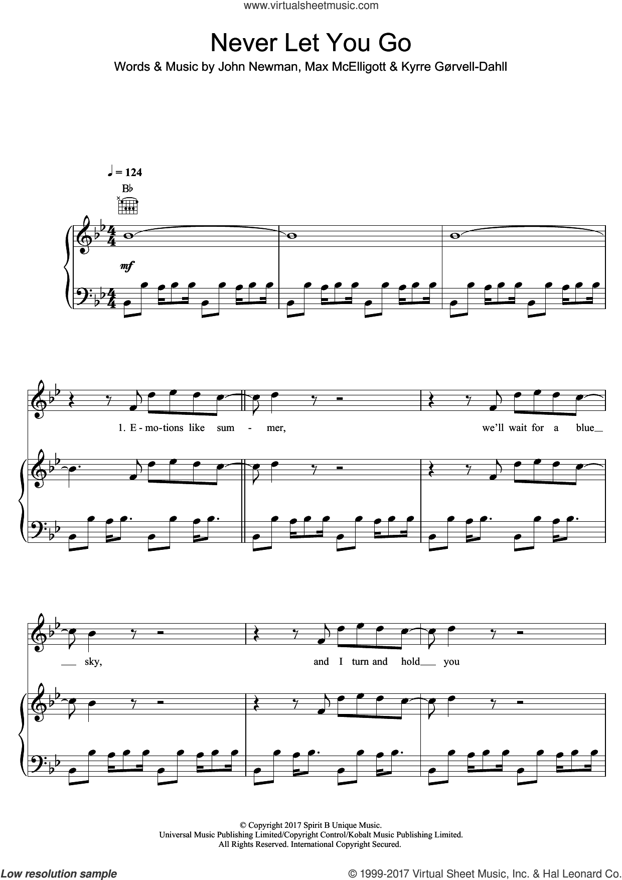 Never Let You Go (featuring John Newman) sheet music for voice, piano or guitar by Kygo, John Newman, Kyrre GAurvell-Dahll and Max McElligott, intermediate skill level