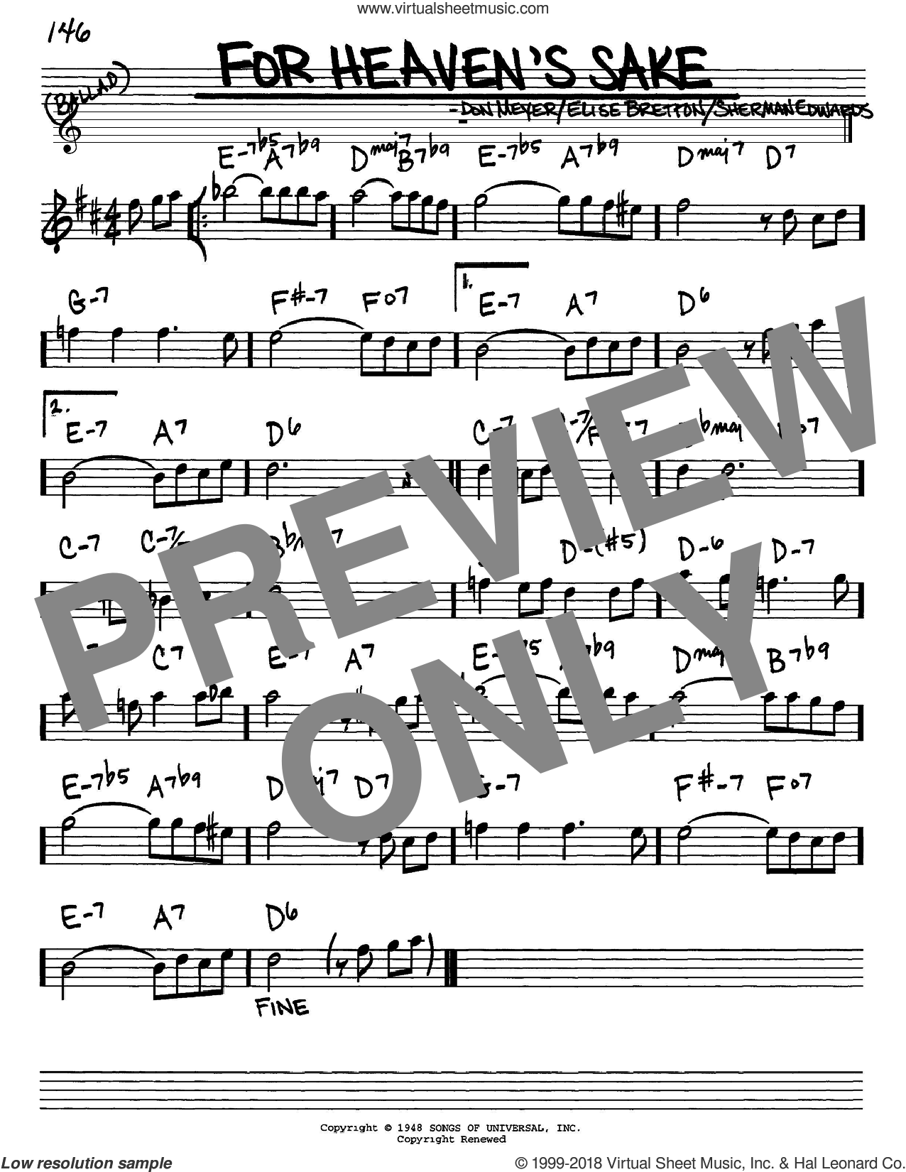 For Heaven's Sake sheet music for voice and other instruments (Eb) by Bill Evans and Sherman Edwards, intermediate. Score Image Preview.