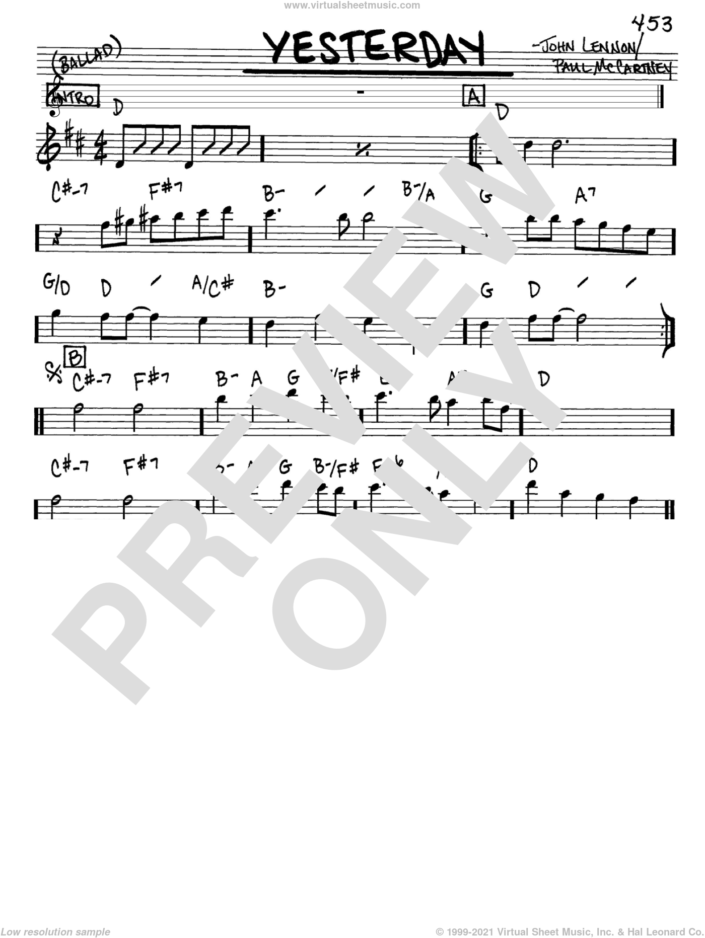 Yesterday sheet music for voice and other instruments (in Eb) by The Beatles, John Lennon and Paul McCartney, intermediate. Score Image Preview.