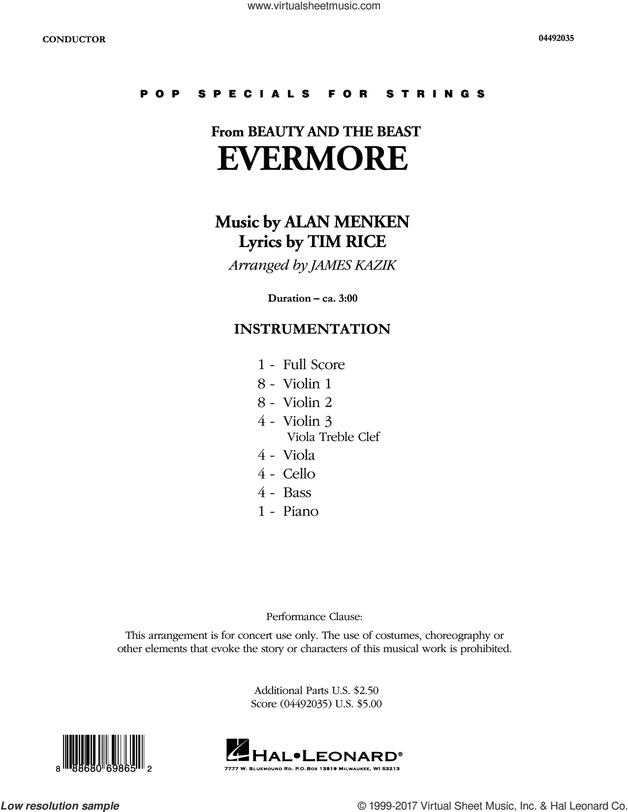 Menken Evermore From Beauty And The Beast Sheet Music Complete Collection For Orchestra