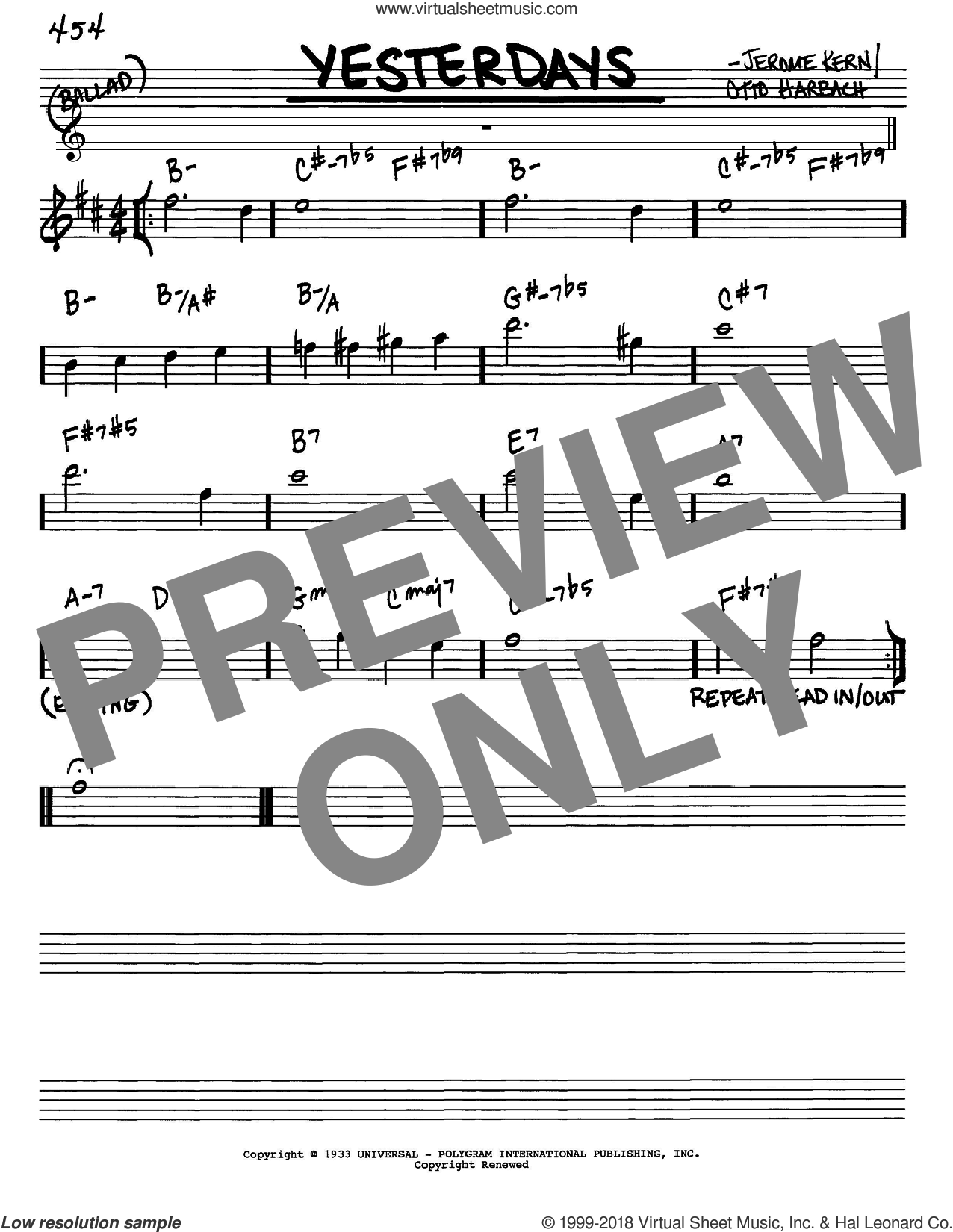 Yesterdays sheet music for voice and other instruments (Eb) by Otto Harbach and Jerome Kern. Score Image Preview.