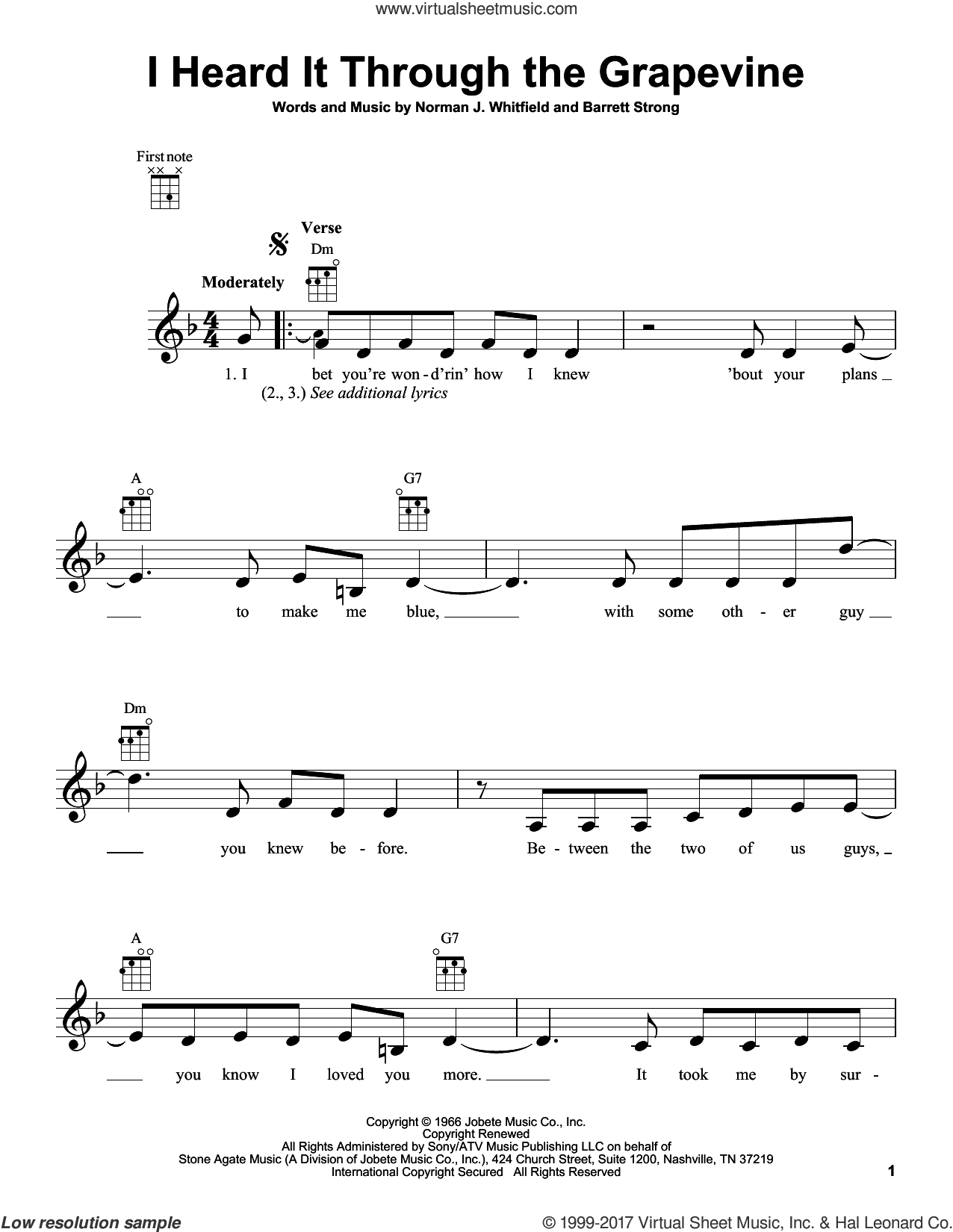 I Heard It Through The Grapevine sheet music for ukulele by Marvin Gaye, Gladys Knight & The Pips, Barrett Strong and Norman Whitfield, intermediate skill level