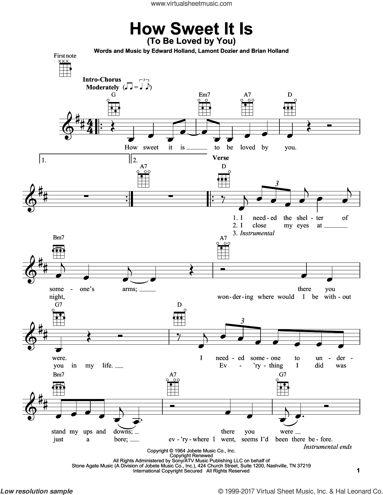 How Sweet It Is (To Be Loved By You) sheet music for ukulele by James Taylor, Marvin Gaye, Brian Holland, Eddie Holland and Lamont Dozier, intermediate skill level