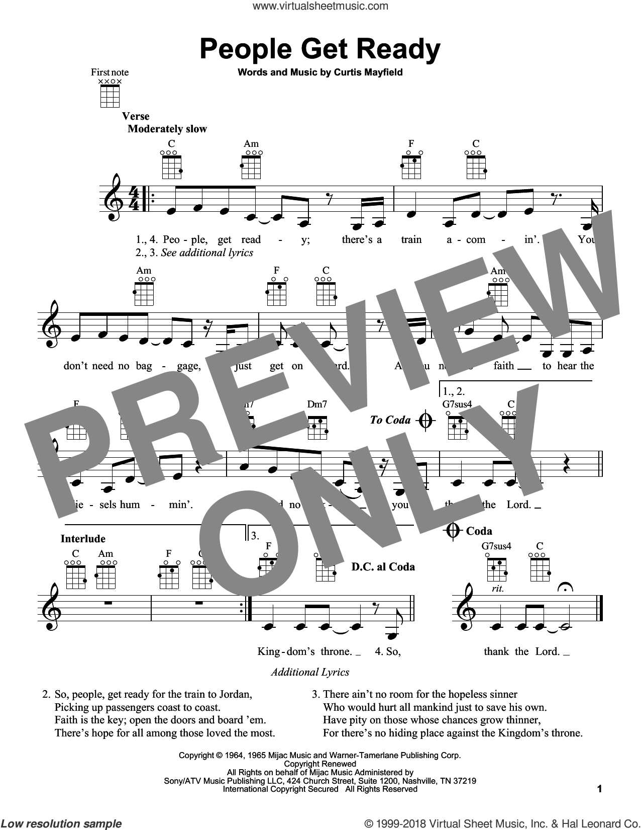 People Get Ready sheet music for ukulele by Curtis Mayfield, Bob Marley and Rod Stewart, intermediate skill level