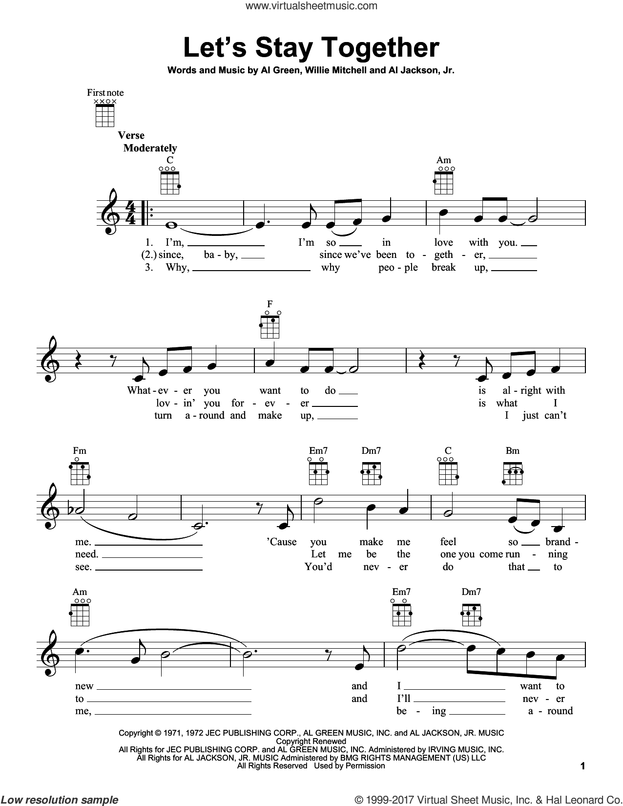 Let's Stay Together sheet music for ukulele by Al Green, Al Jackson, Jr. and Willie Mitchell, intermediate skill level