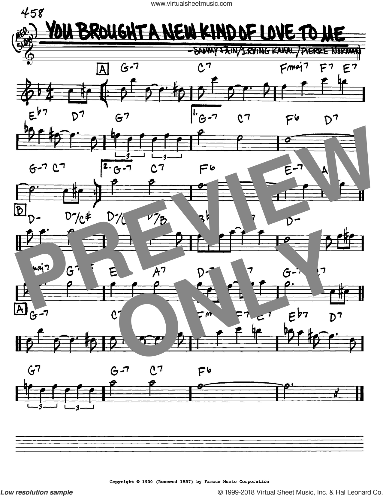 You Brought A New Kind Of Love To Me sheet music for voice and other instruments (in Eb) by Frank Sinatra, Irving Kahal, Pierre Norman and Sammy Fain, intermediate skill level