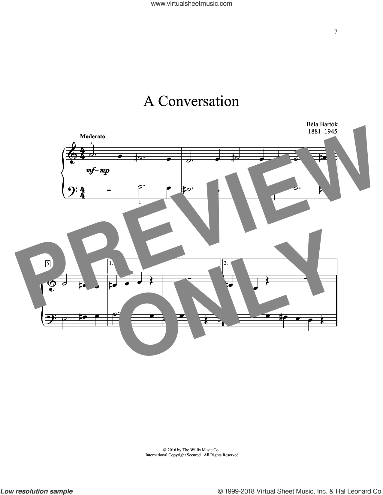 A Conversation sheet music for piano solo (elementary) by Bela Bartok, classical score, beginner piano (elementary)