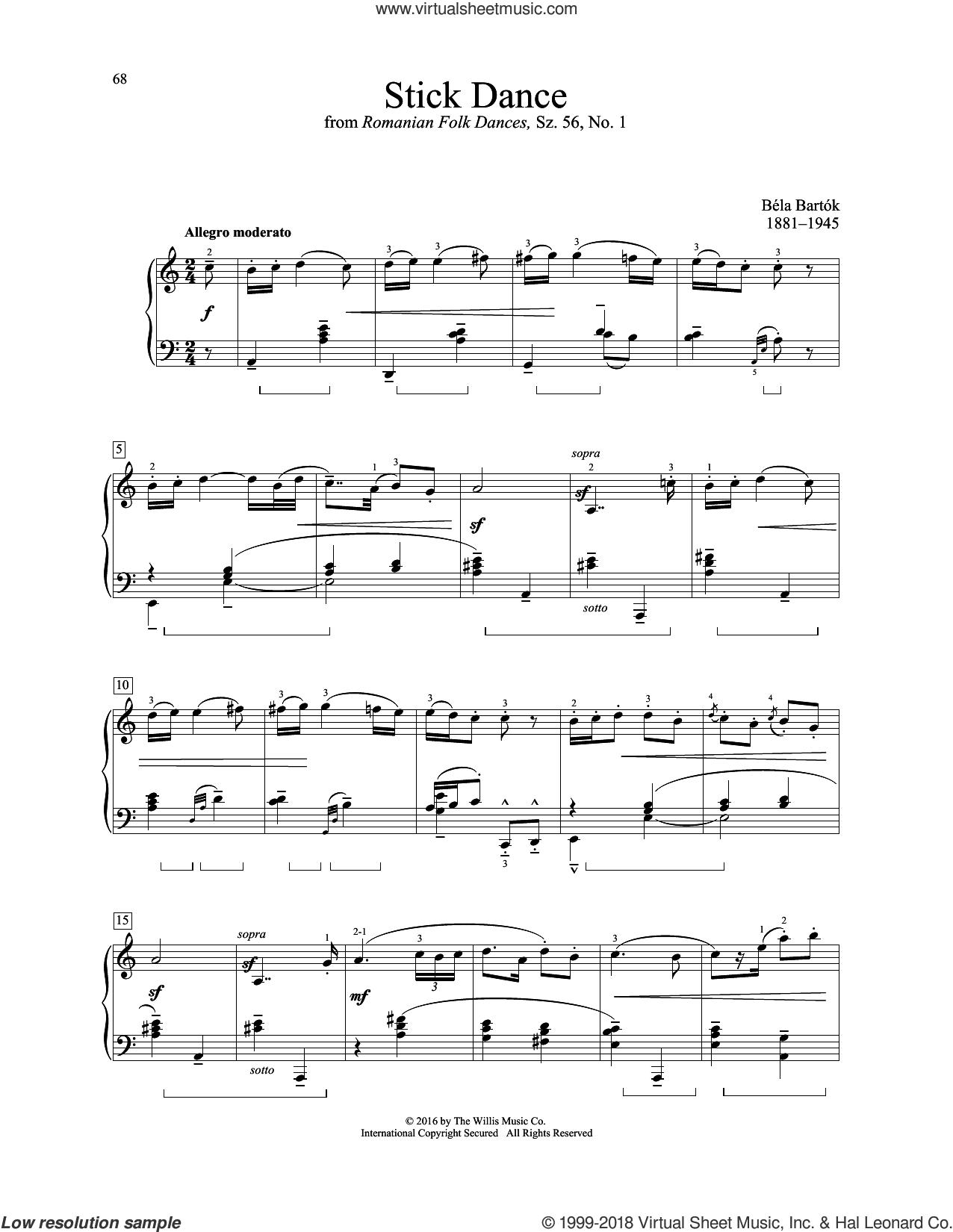 Stick Dance sheet music for piano solo (elementary) by Bela Bartok, classical score, beginner piano (elementary)