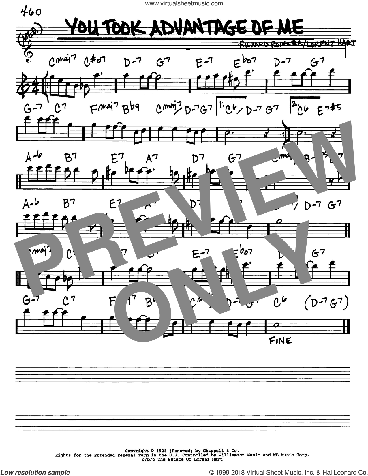 You Took Advantage Of Me sheet music for voice and other instruments (Eb) by Rodgers & Hart, Lorenz Hart and Richard Rodgers, intermediate voice. Score Image Preview.