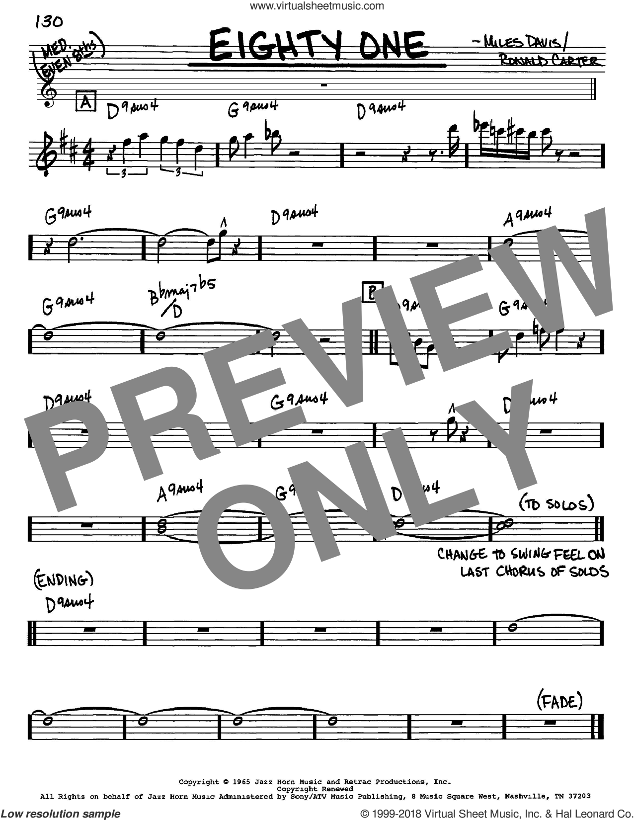 Eighty One sheet music for voice and other instruments (Eb) by Miles Davis, intermediate voice. Score Image Preview.