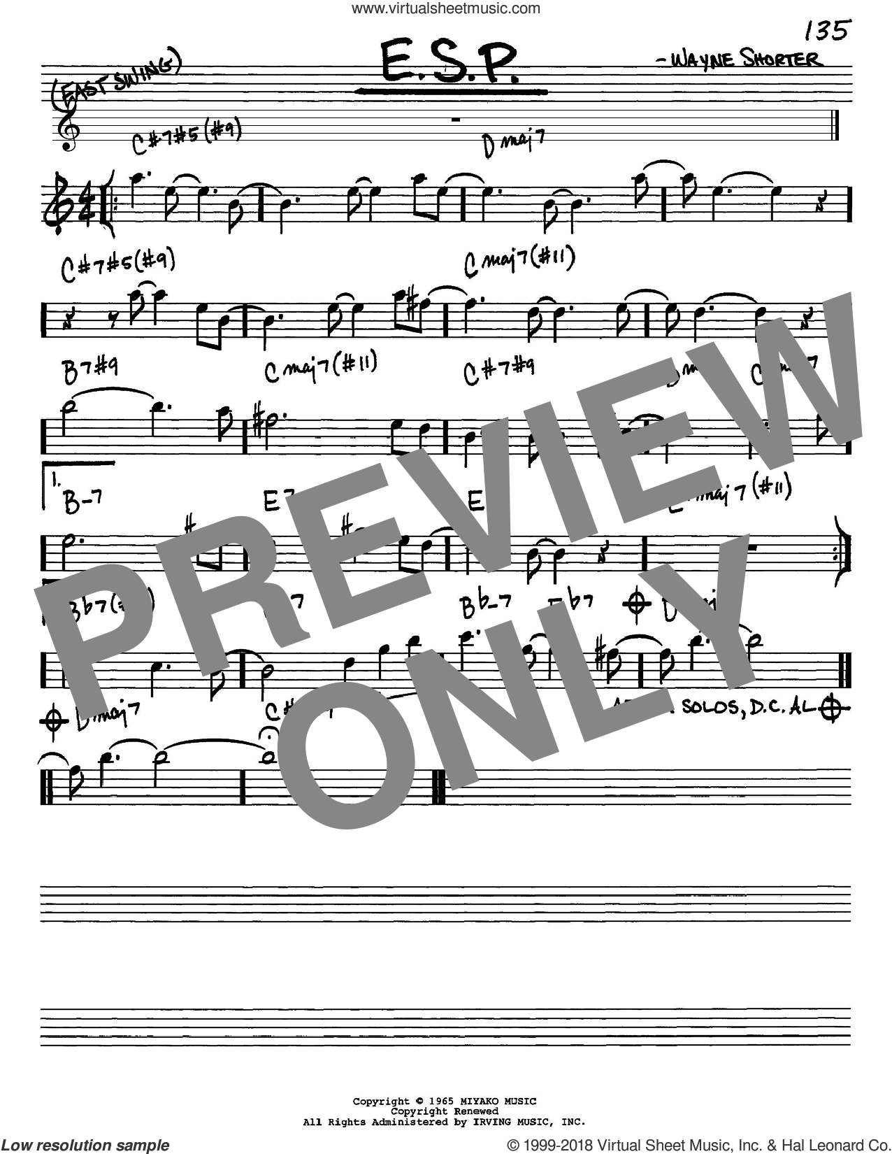 E.S.P. sheet music for voice and other instruments (Eb) by Wayne Shorter. Score Image Preview.