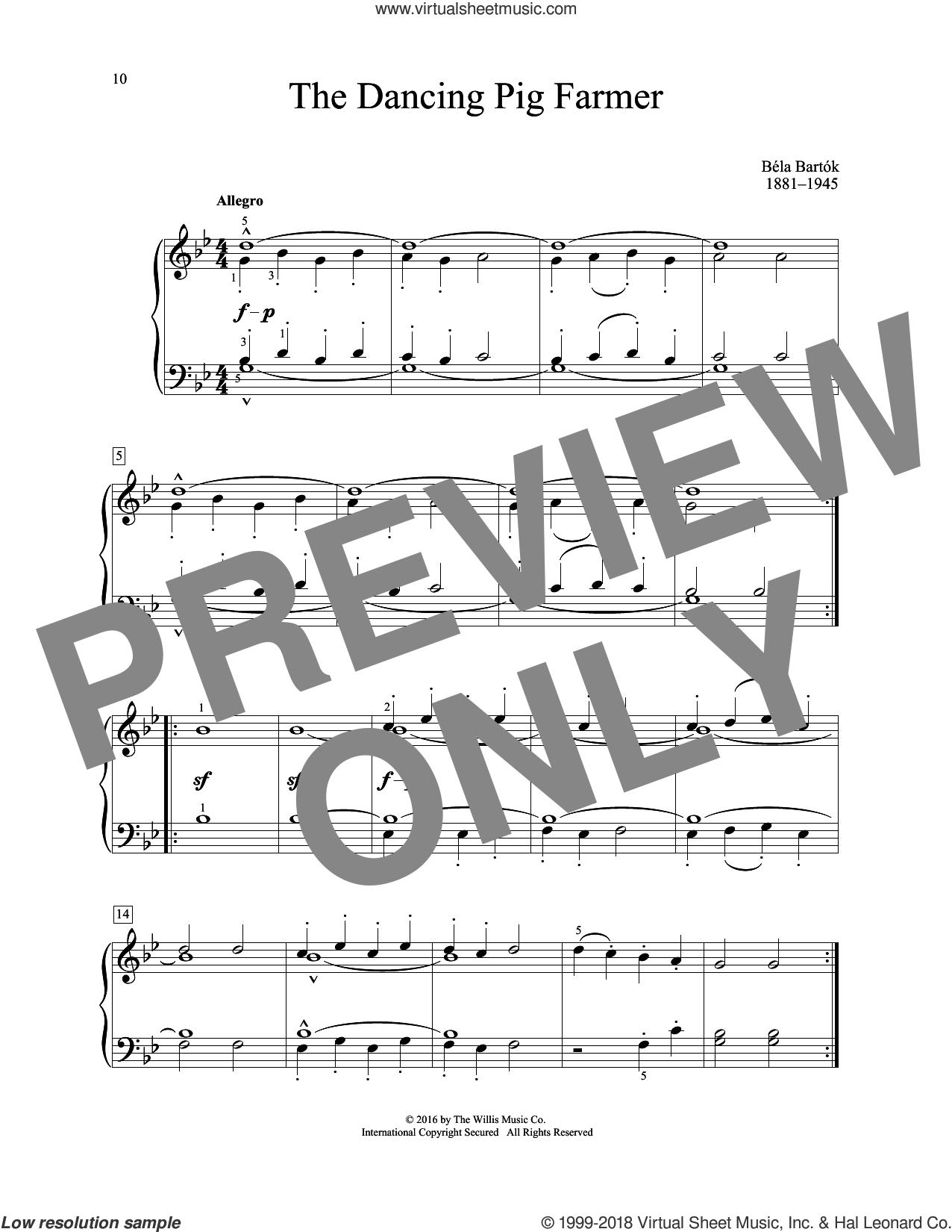 The Dancing Pig Farmer sheet music for piano solo (elementary) by Bela Bartok, classical score, beginner piano (elementary)
