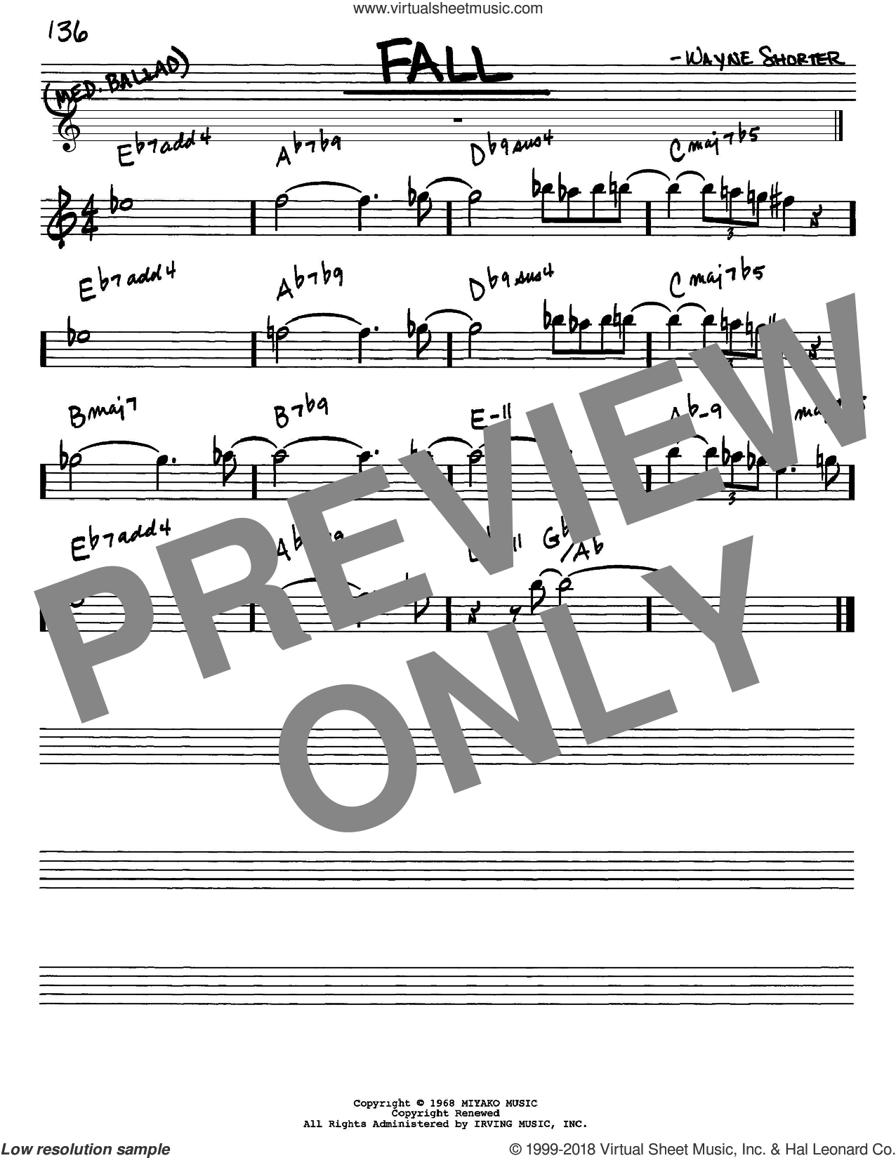 Fall sheet music for voice and other instruments (Eb) by Wayne Shorter. Score Image Preview.