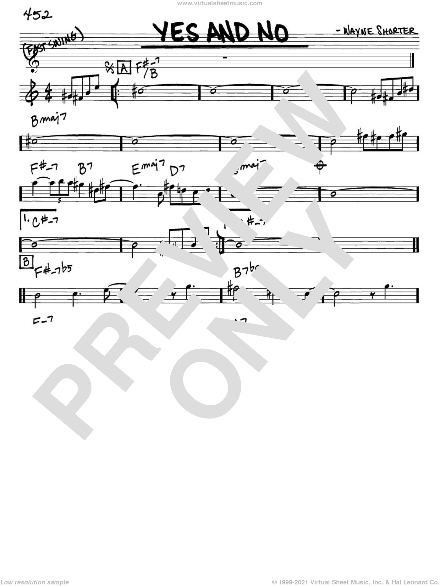 Yes And No sheet music for voice and other instruments (in Eb) by Wayne Shorter, intermediate
