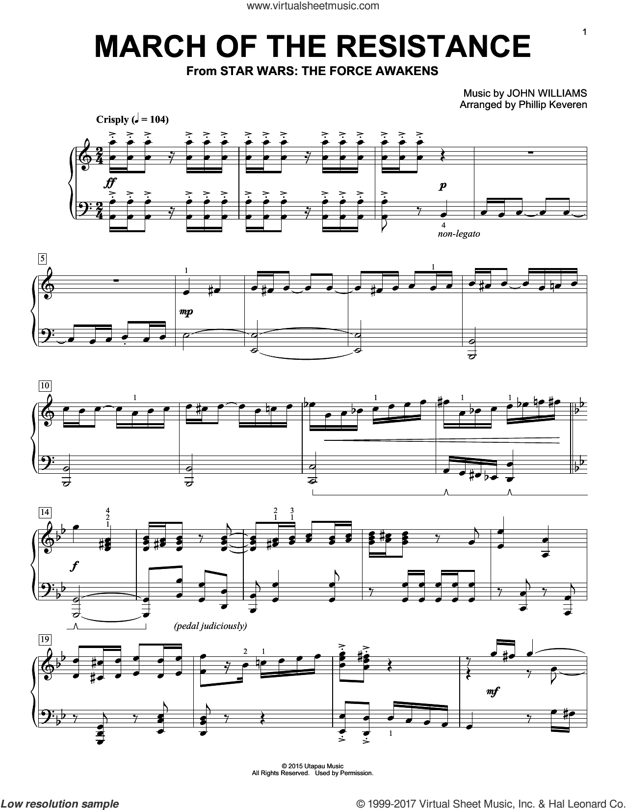 March Of The Resistance sheet music for piano solo by John Williams and Phillip Keveren, intermediate skill level