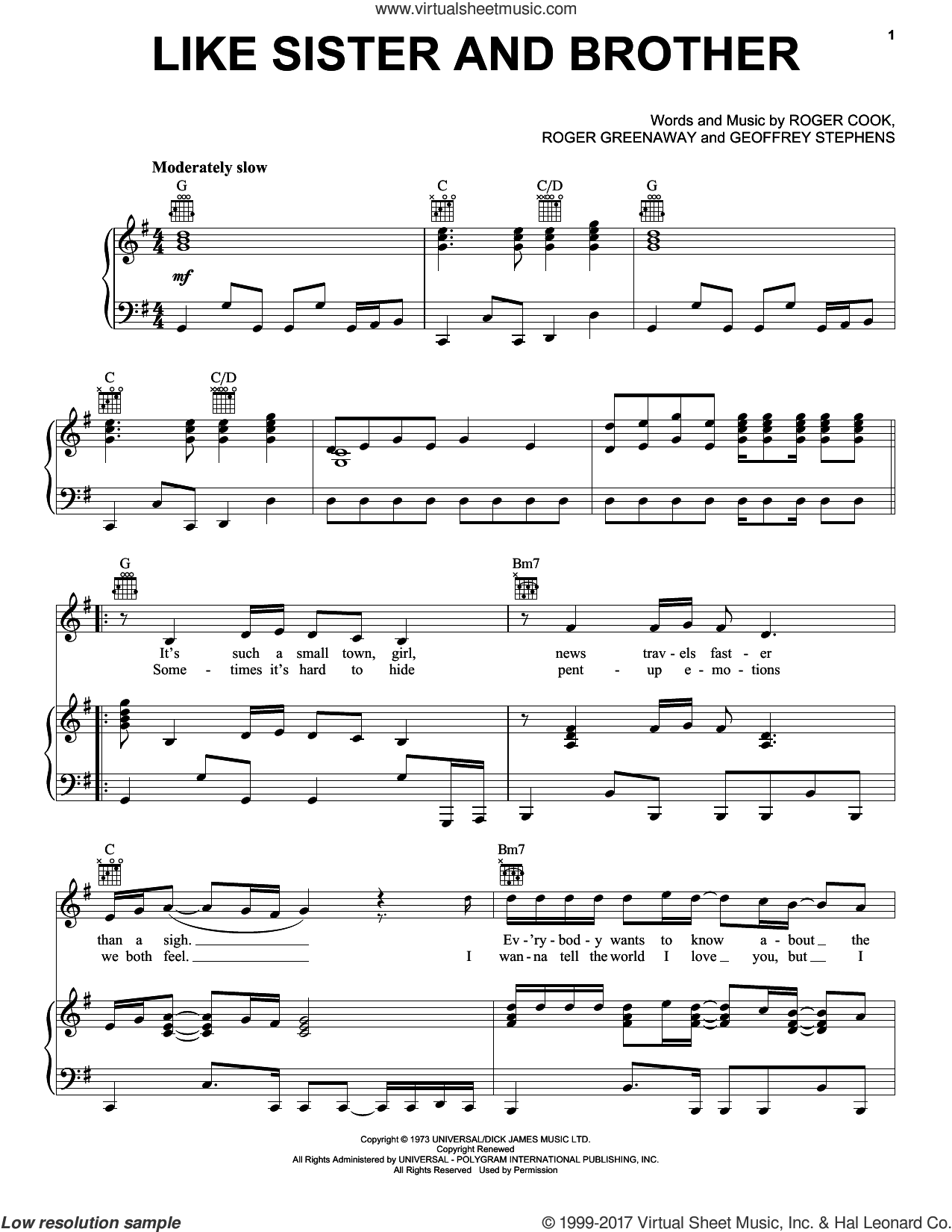Like Sister and Brother sheet music for voice, piano or guitar by The Drifters, Geoff Stephens, Roger Cook and Roger Greenaway, intermediate skill level