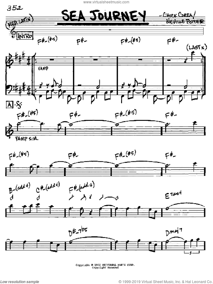Sea Journey sheet music for voice and other instruments (in Eb) by Chick Corea and Neville Potter, intermediate skill level
