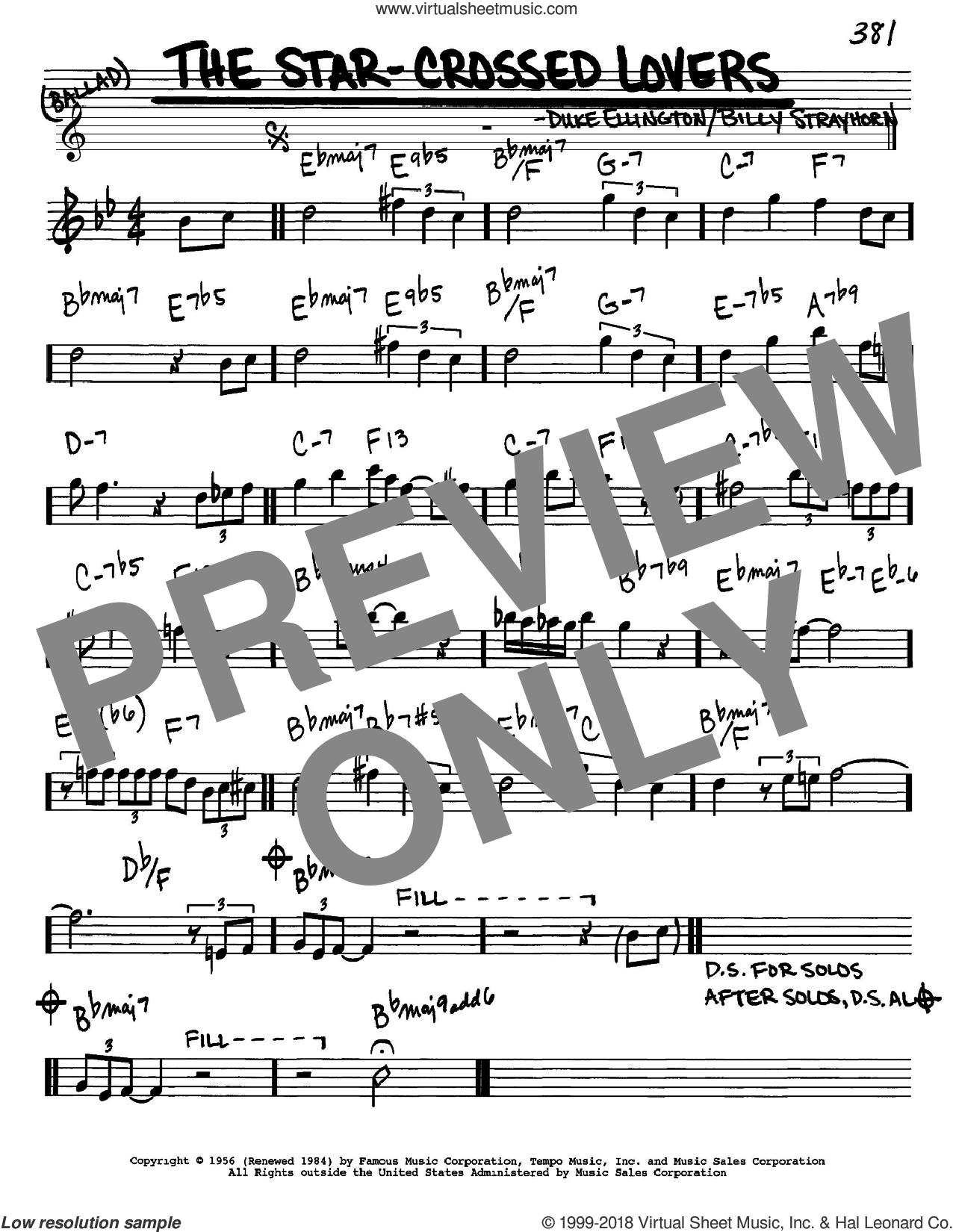 The Star-Crossed Lovers sheet music for voice and other instruments (in Eb) by Duke Ellington and Billy Strayhorn, intermediate