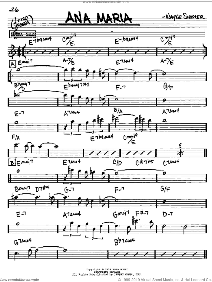 Ana Maria sheet music for voice and other instruments (Eb) by Wayne Shorter. Score Image Preview.