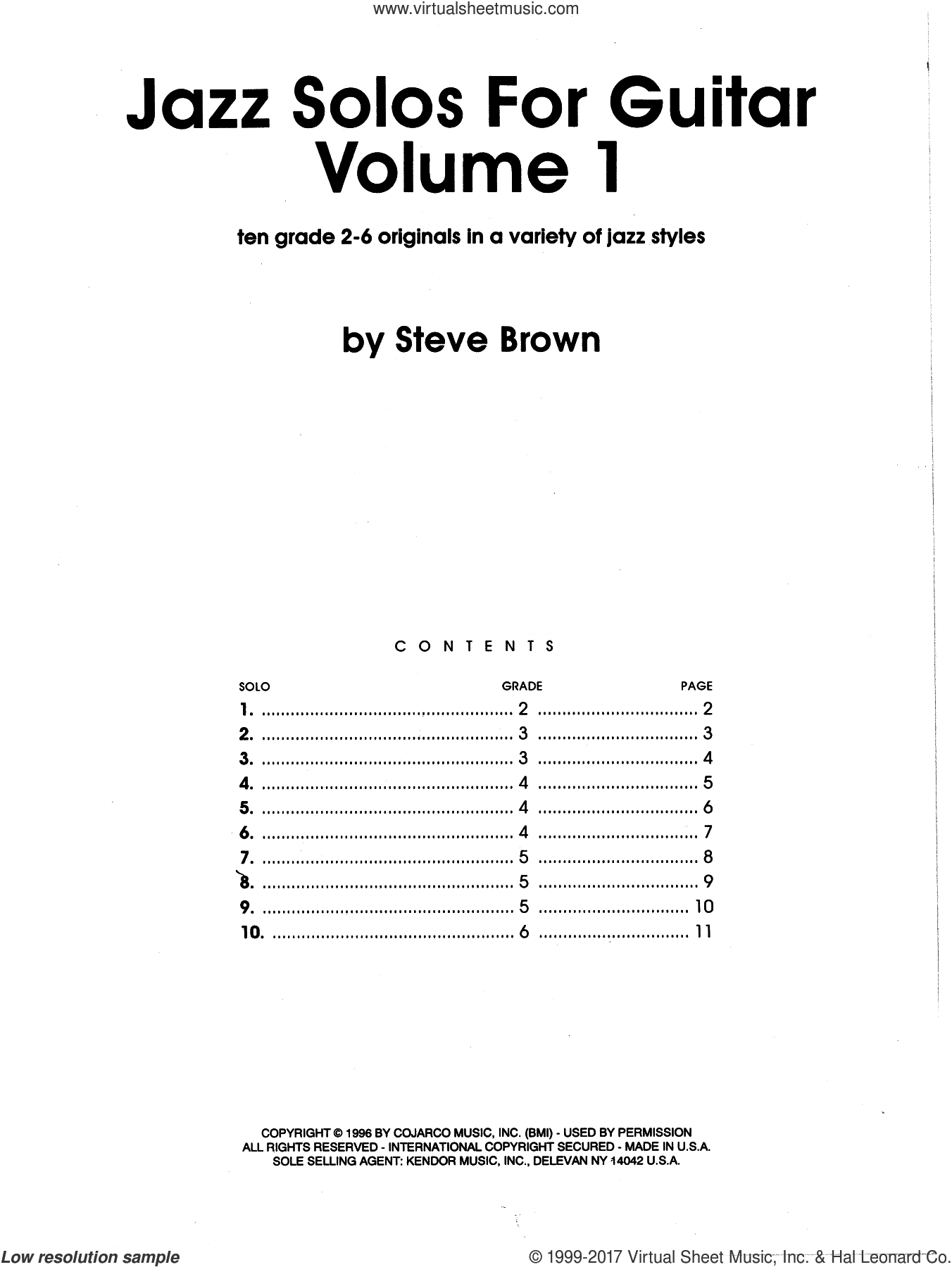 Jazz Solos For Guitar, Volume 1 sheet music for guitar solo by Steve Brown, intermediate skill level
