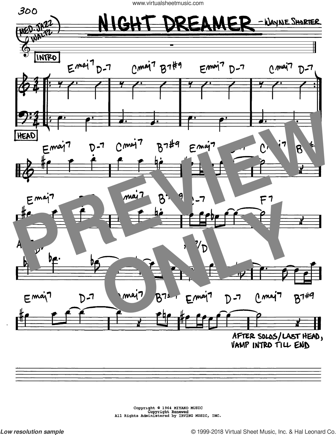 Night Dreamer sheet music for voice and other instruments (Eb) by Wayne Shorter. Score Image Preview.