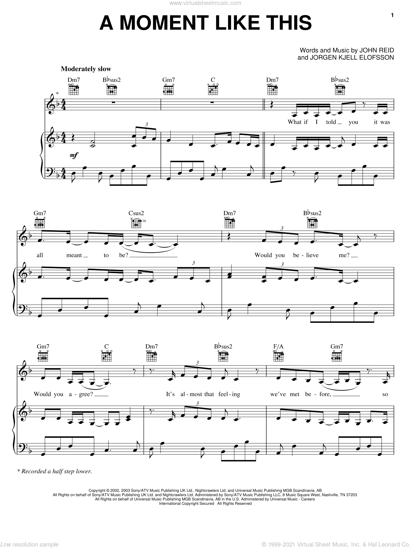 A Moment Like This sheet music for voice, piano or guitar by Jorgen Elofsson, Kelly Clarkson and John Reid