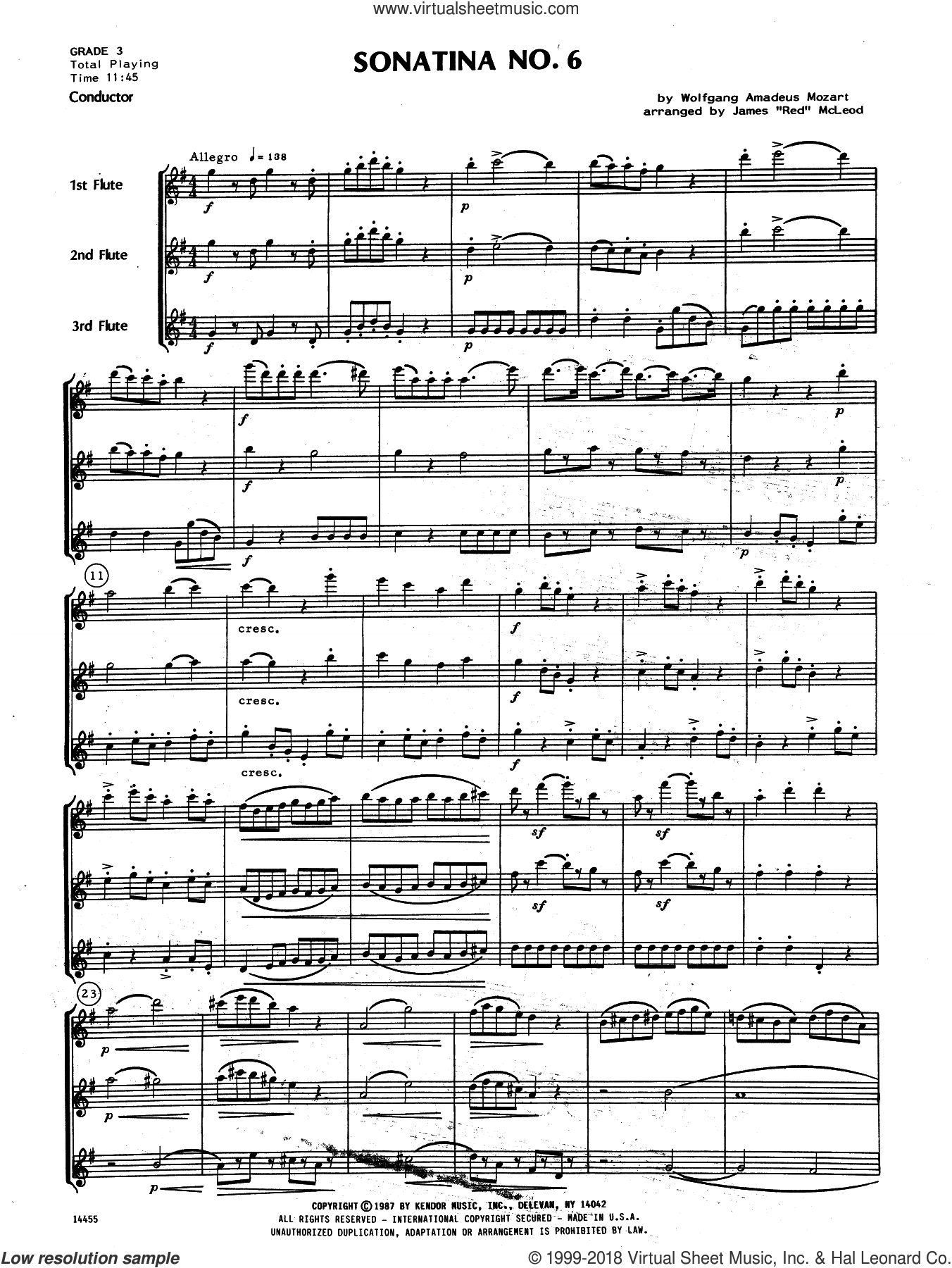 Sonatina No. 6 (COMPLETE) sheet music for flute trio by Wolfgang Amadeus Mozart and James 'Red' McLeod, classical score, intermediate skill level