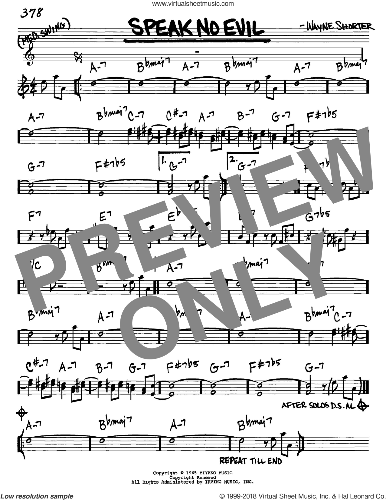 Speak No Evil sheet music for voice and other instruments (Eb) by Wayne Shorter, intermediate voice. Score Image Preview.