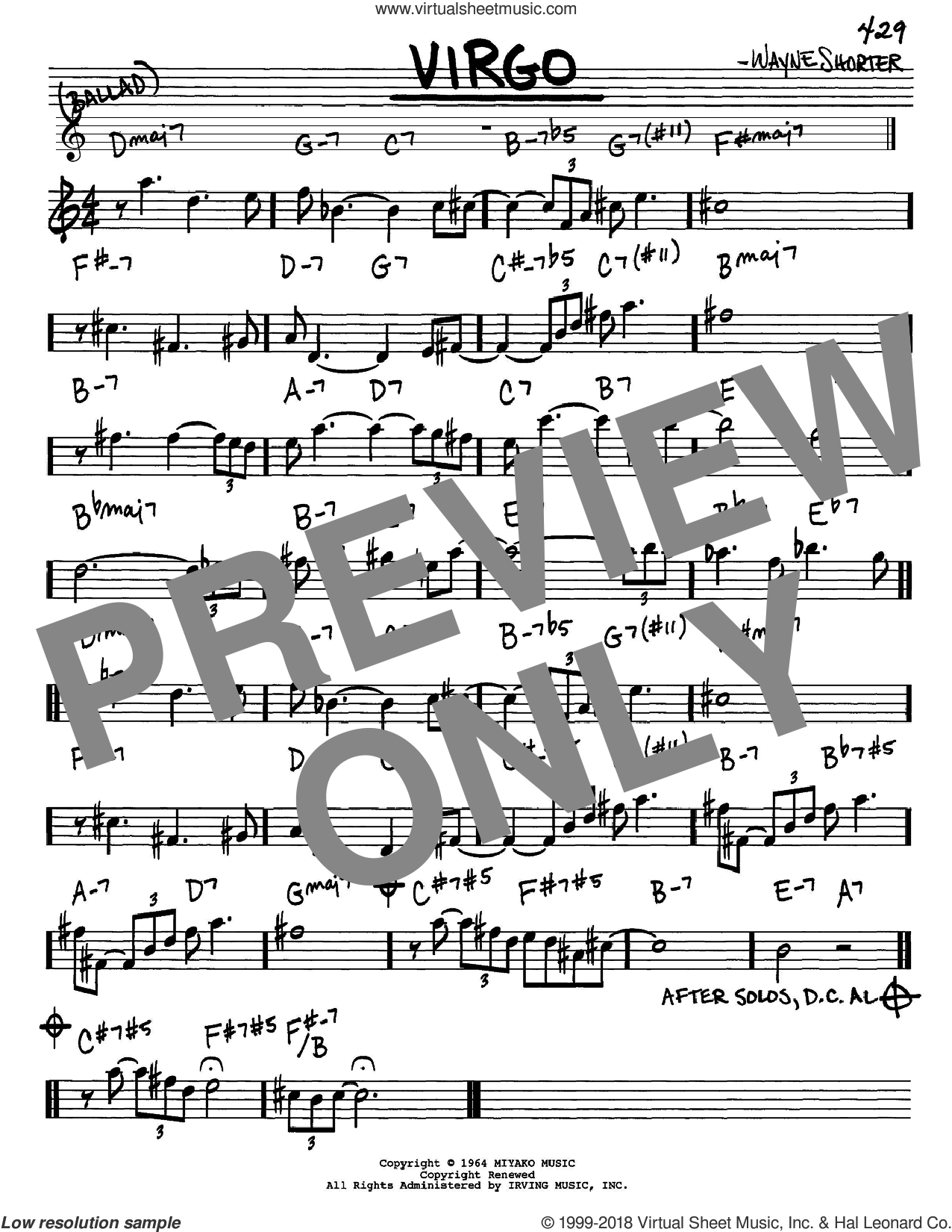 Virgo sheet music for voice and other instruments (Eb) by Wayne Shorter, intermediate. Score Image Preview.