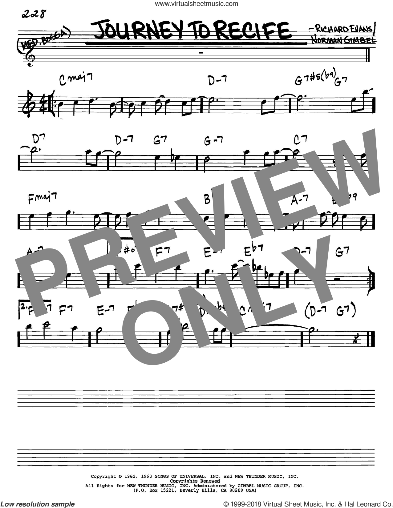 Journey To Recife sheet music for voice and other instruments (Eb) by Richard Evans and Norman Gimbel