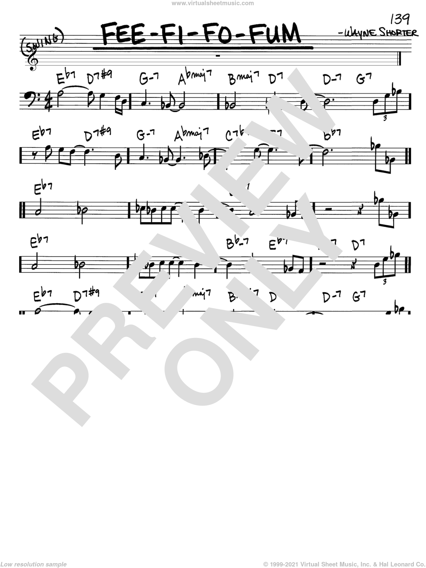 Fee-Fi-Fo-Fum sheet music for voice and other instruments (Bass Clef ) by Wayne Shorter. Score Image Preview.