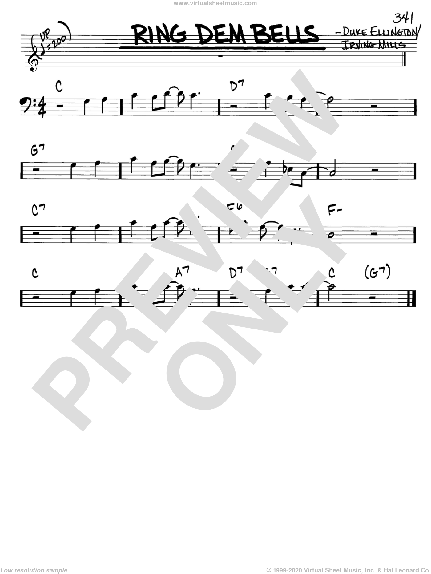 Ring Dem Bells sheet music for voice and other instruments (bass clef) by Duke Ellington and Irving Mills, intermediate
