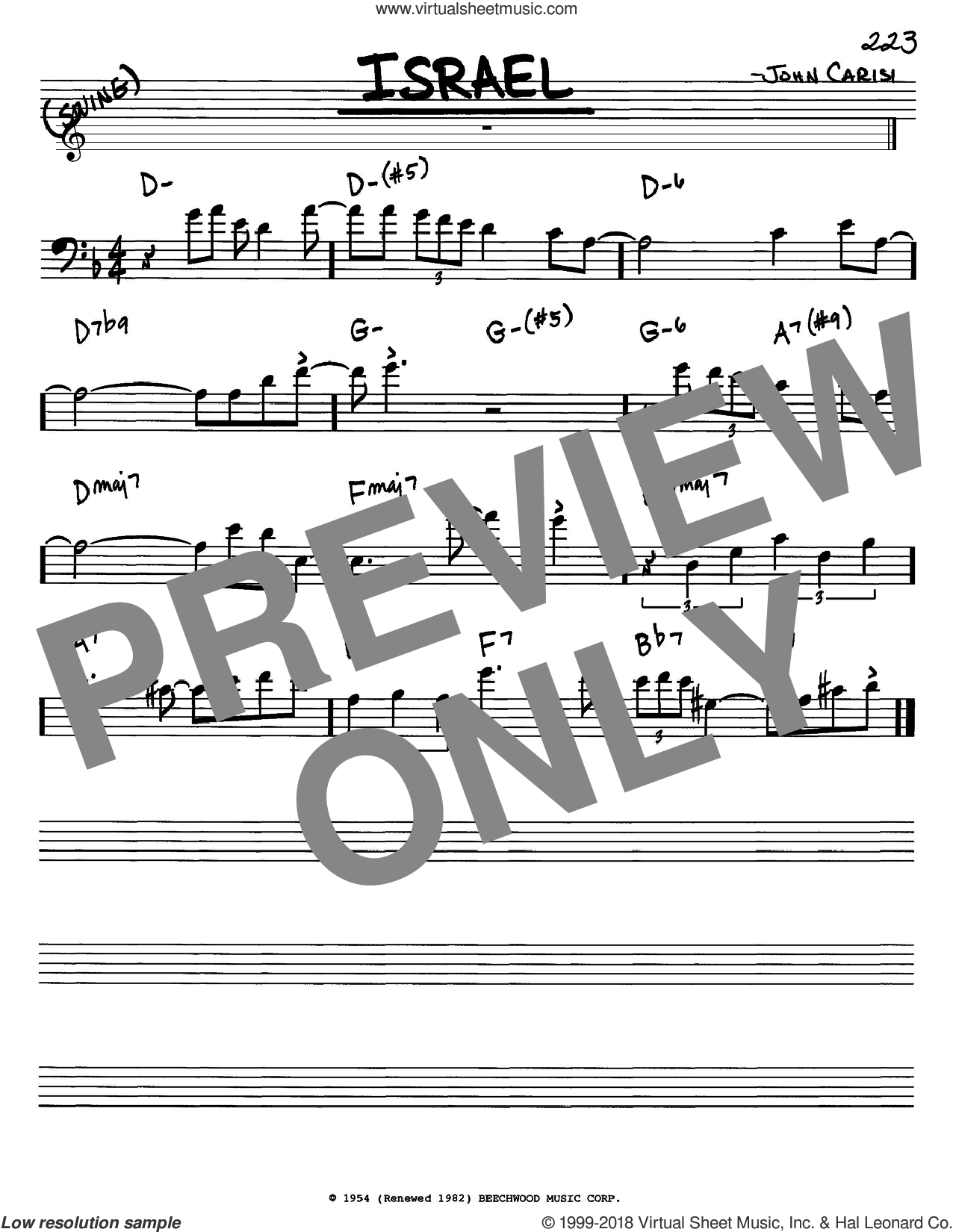 Israel sheet music for voice and other instruments (bass clef) by Miles Davis and John Carisi, intermediate skill level
