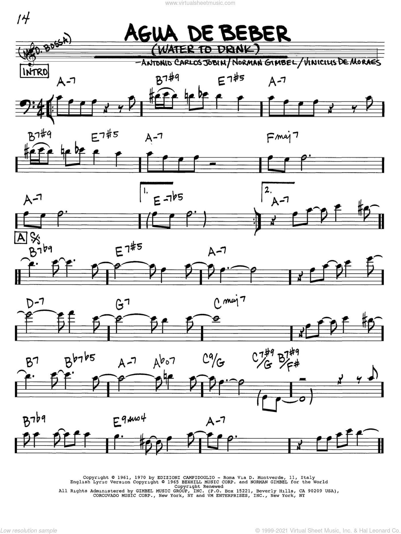 Agua De Beber (Water To Drink) sheet music for voice and other instruments (Bass Clef ) by Vinicius de Moraes, Antonio Carlos Jobim and Norman Gimbel. Score Image Preview.