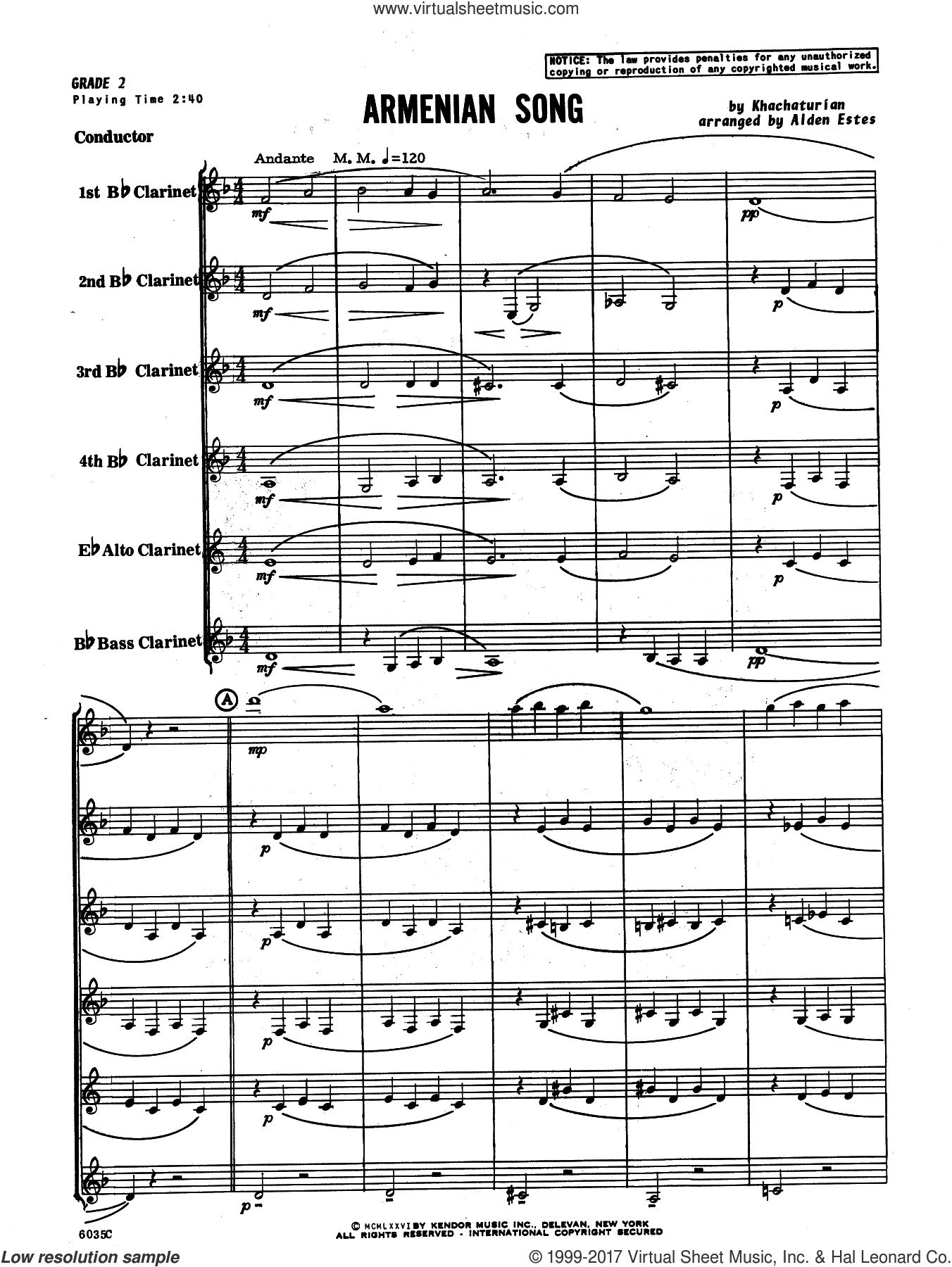 Armenian Song (COMPLETE) sheet music for clarinet ensemble by Aram Khachaturian and Alden Estes, classical score, intermediate skill level