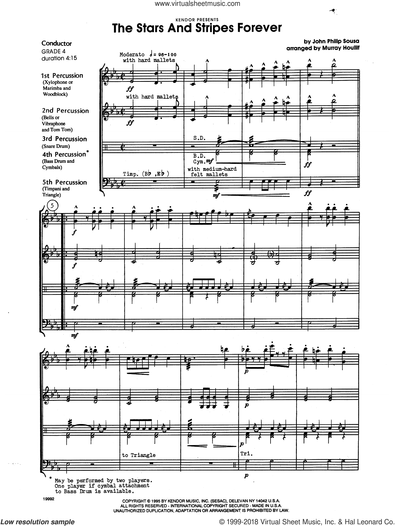 The Stars and Stripes Forever (COMPLETE) sheet music for percussions by John Philip Sousa and Houllif, intermediate skill level