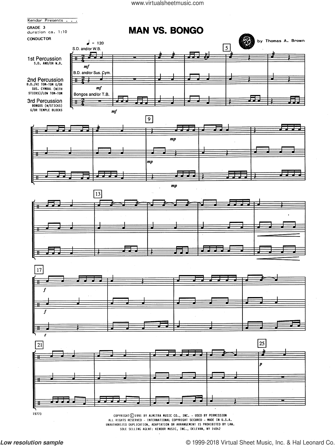 Man Vs. Bongo (COMPLETE) sheet music for percussions by Tom Brown, intermediate skill level