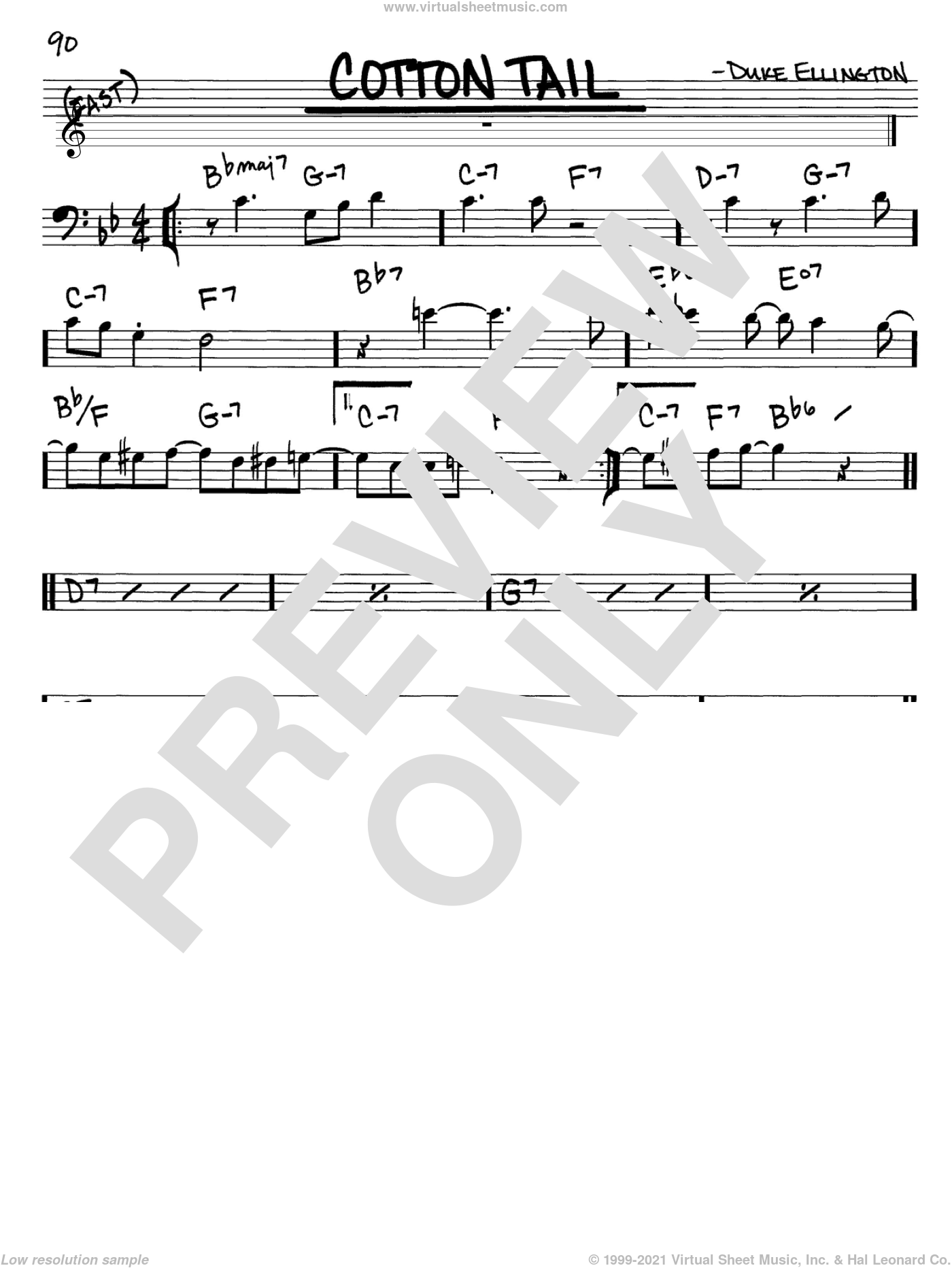 Cotton Tail sheet music for voice and other instruments (Bass Clef ) by Duke Ellington