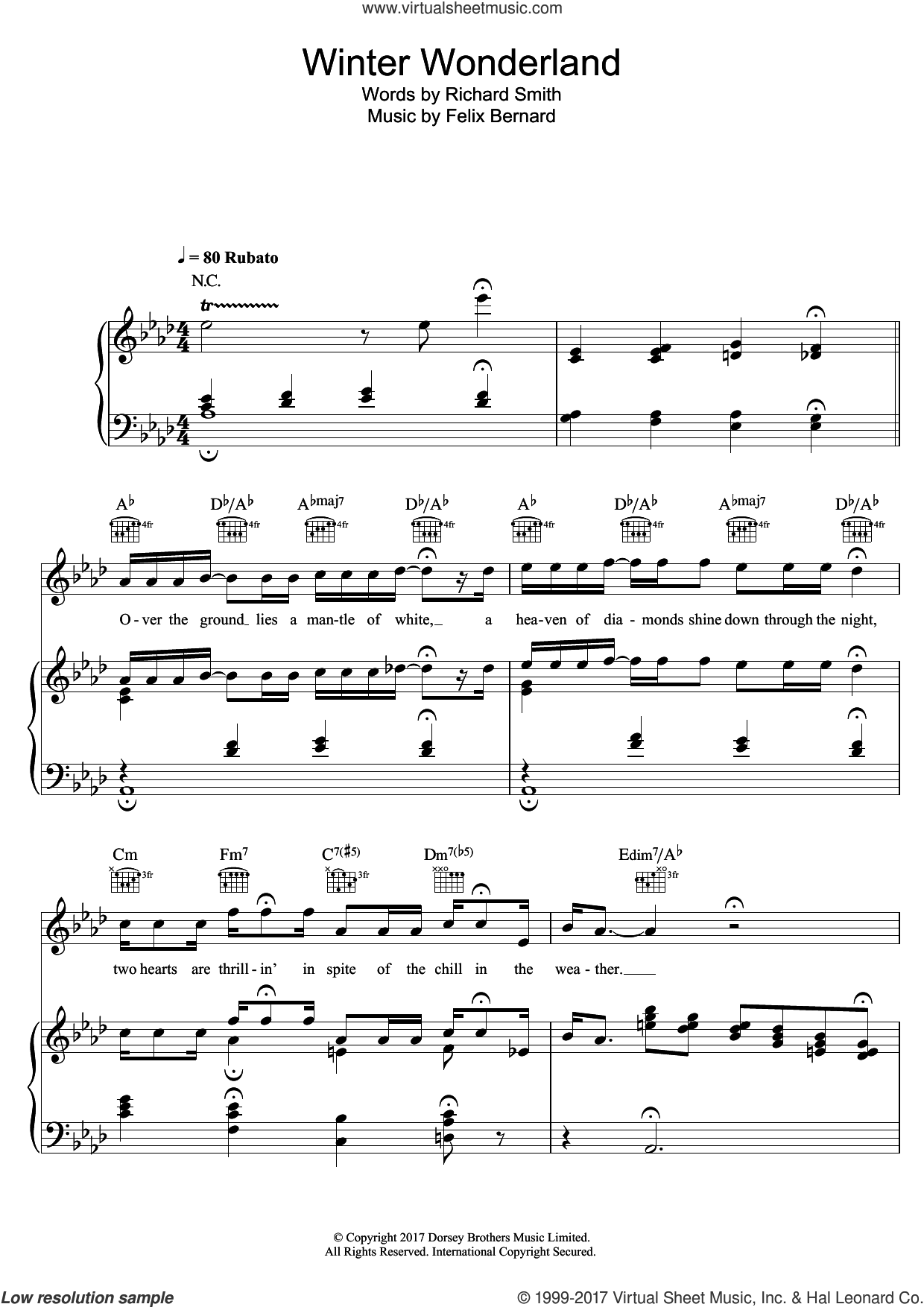 Winter Wonderland sheet music for voice, piano or guitar by Doris Day and Felix Bernard, intermediate skill level