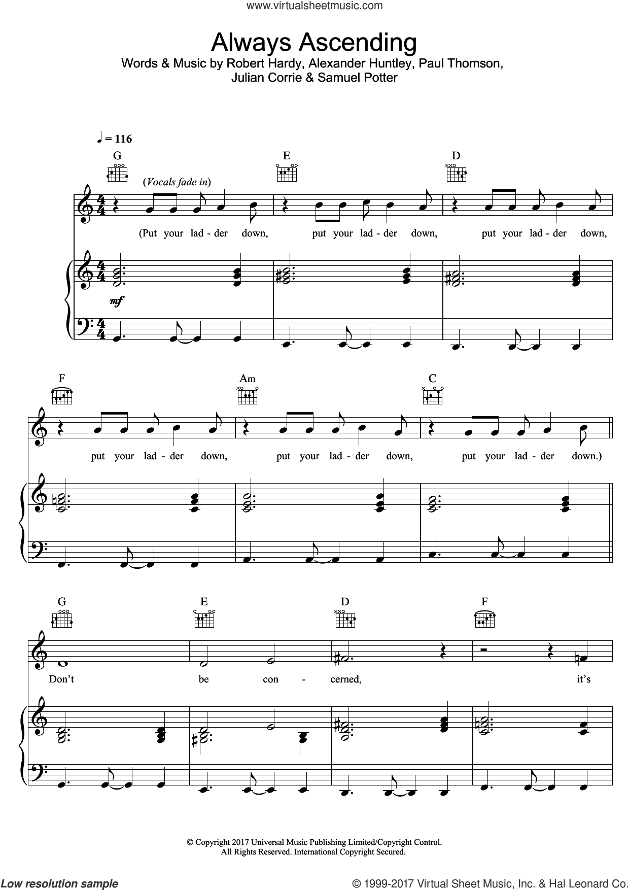 Always Ascending sheet music for voice, piano or guitar by Franz Ferdinand, Alexander Huntley, Julian Corrie, Paul Thomson, Robert Hardy and Samuel Potter, intermediate skill level