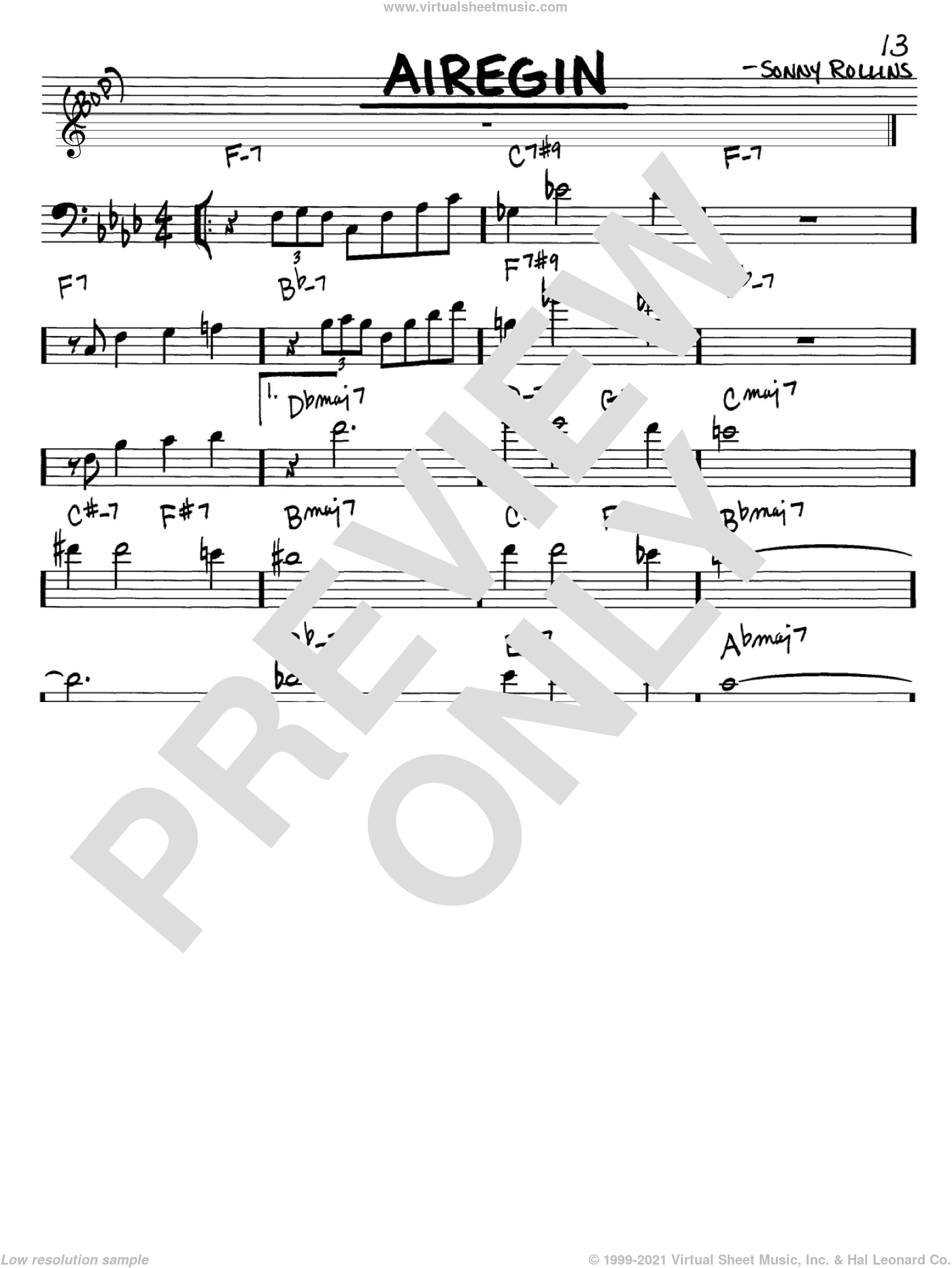 Airegin sheet music for voice and other instruments (Bass Clef ) by John Coltrane and Sonny Rollins, intermediate voice. Score Image Preview.