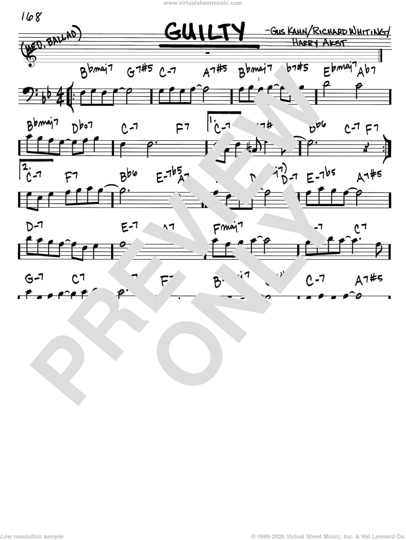 Guilty sheet music for voice and other instruments (Bass Clef ) by Richard A. Whiting, Gus Kahn and Harry Akst. Score Image Preview.