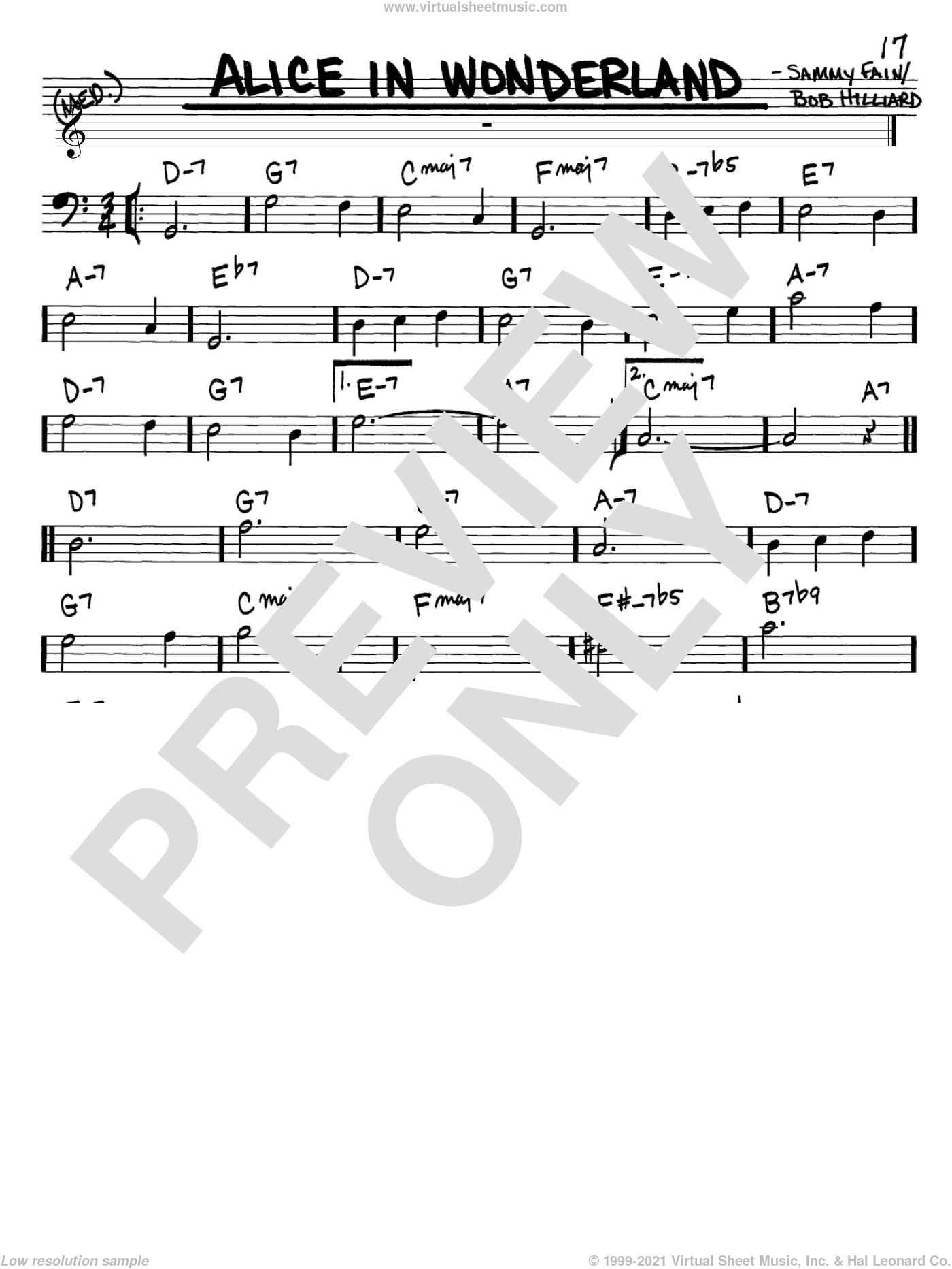 Alice In Wonderland sheet music for voice and other instruments (Bass Clef ) by Sammy Fain, Bill Evans and Bob Hilliard. Score Image Preview.
