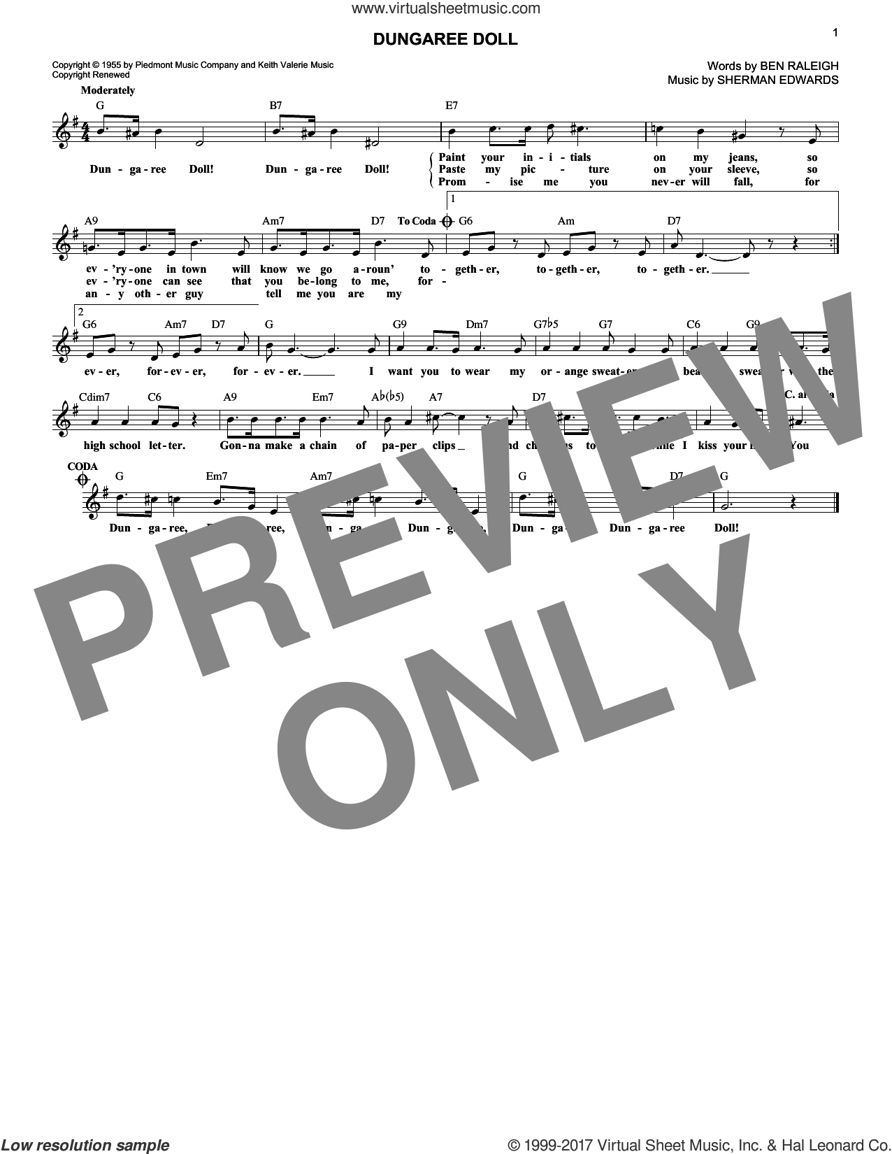 Dungaree Doll sheet music for voice and other instruments (fake book) by Eddie Fischer, Ben Raleigh and Sherman Edwards, intermediate skill level