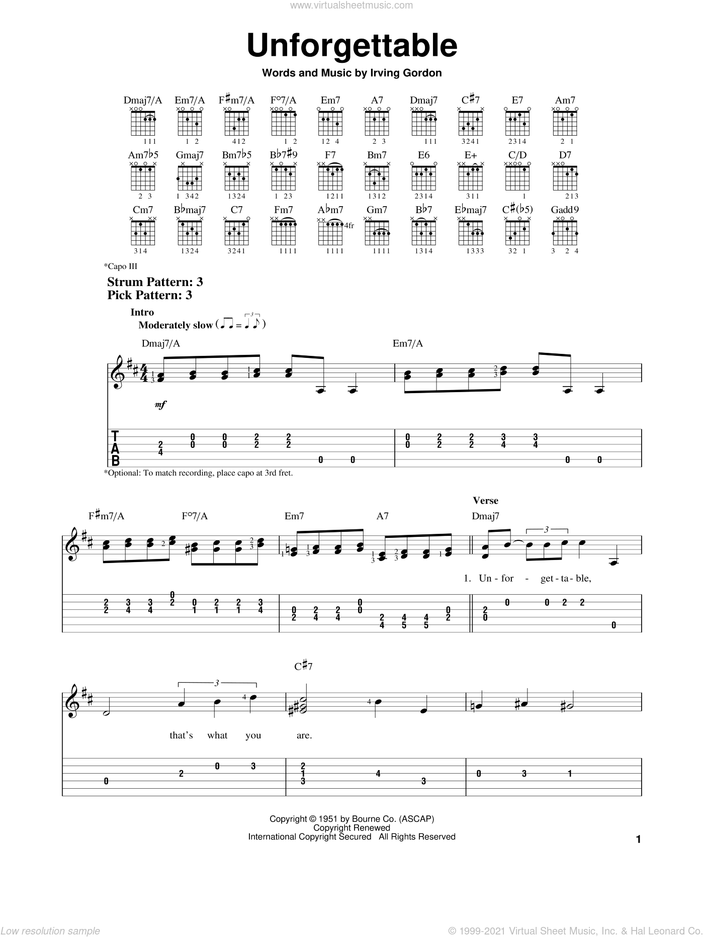 Unforgettable sheet music for guitar solo (easy tablature) by Irving Gordon, Dinah Washington and Natalie Cole, easy guitar (easy tablature)