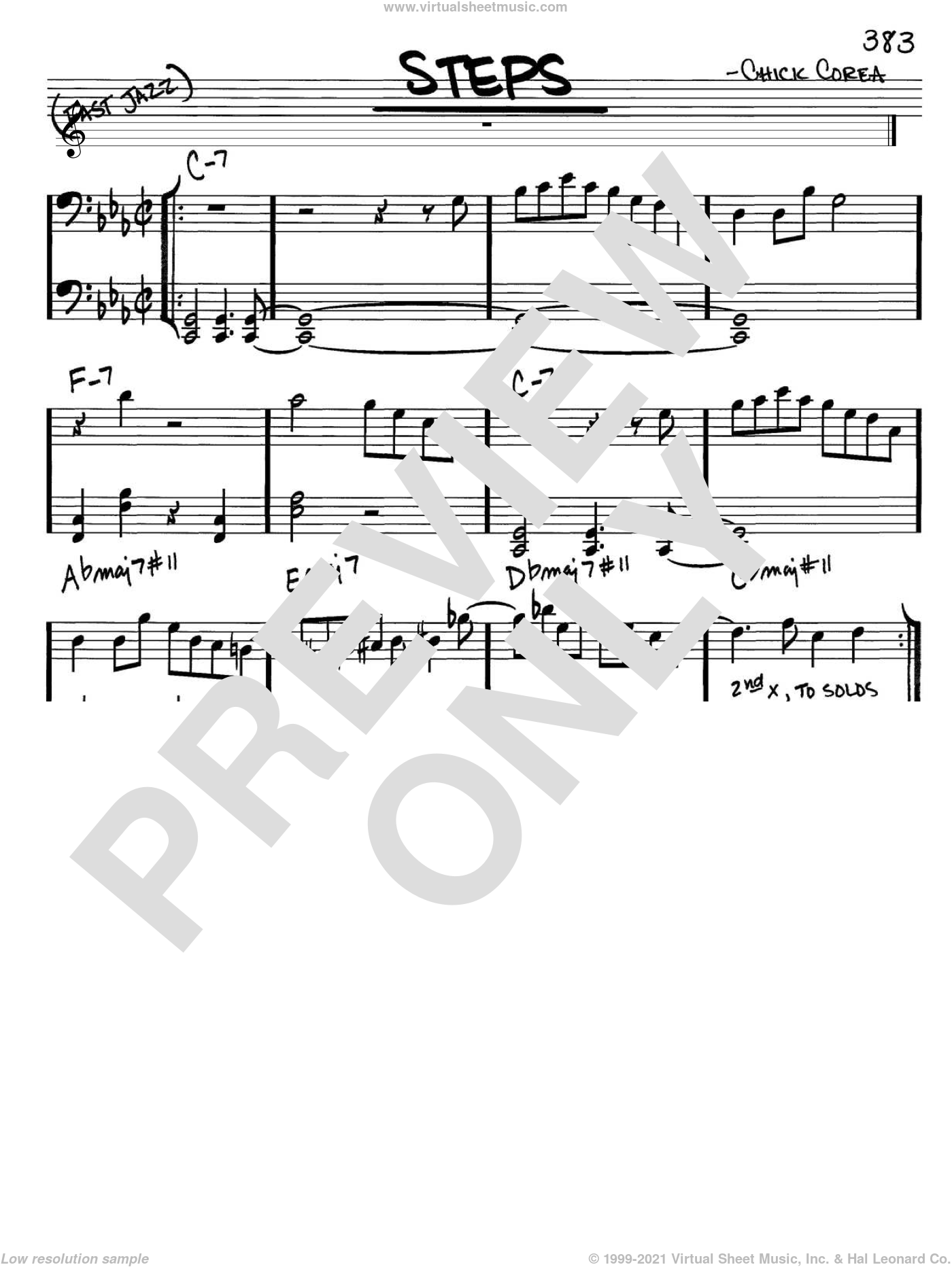Steps sheet music for voice and other instruments (Bass Clef ) by Chick Corea. Score Image Preview.