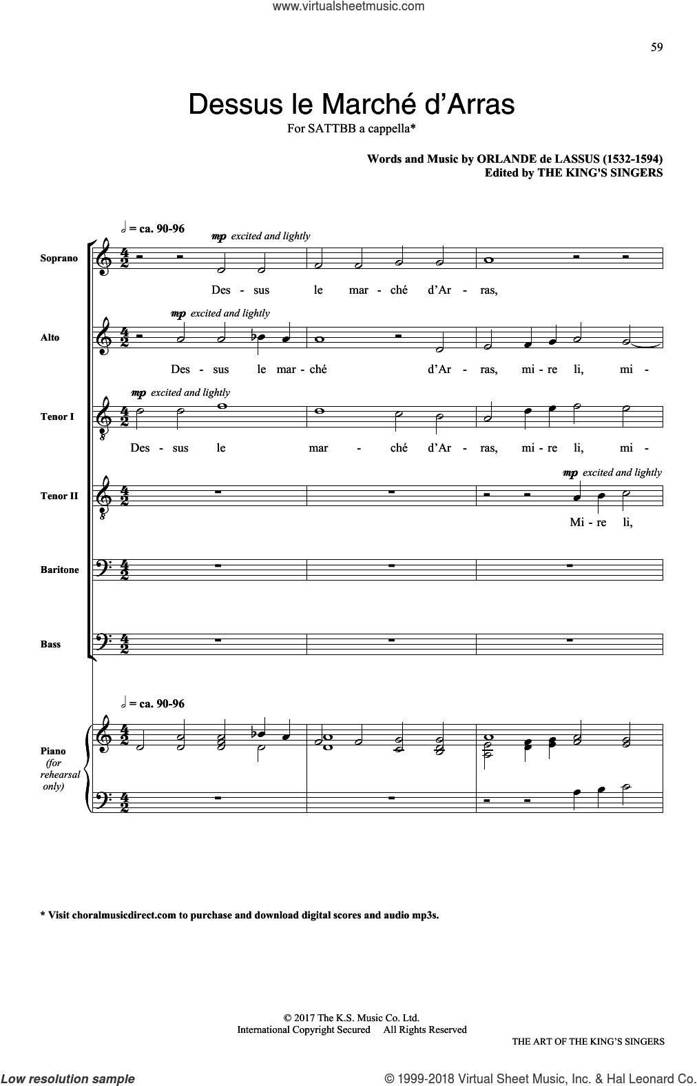 Dessus le march d'Arras sheet music for choir (SATB: soprano, alto, tenor, bass) by Orlando Di Lasso, classical score, intermediate skill level
