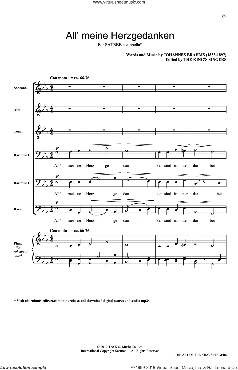 Alle meine Herzgedanken sheet music for choir (SATB: soprano, alto, tenor, bass) by Johannes Brahms, classical score, intermediate skill level
